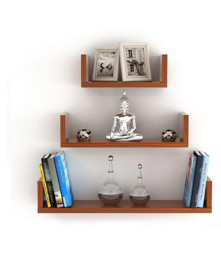 Bluewud Caesar Wall Decor Book Shelf/wall Display Rack (3 Shelves) With Three Glass Holder Wall Decor (View 14 of 30)