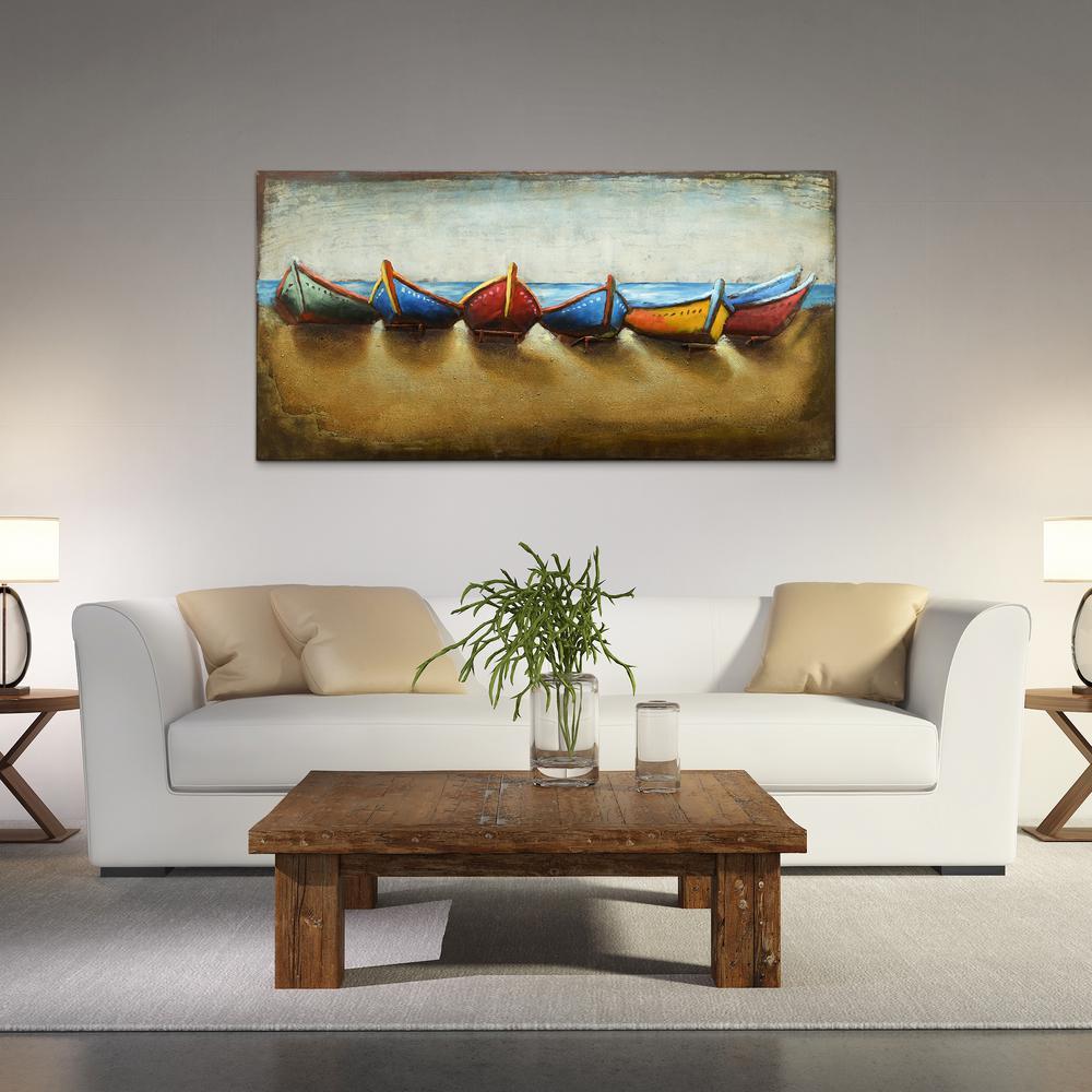 """Boats"""" Mixed Media Iron Hand Painted Dimensional Wall Decor regarding Mixed Media Iron Hand Painted Dimensional Wall Decor (Image 20 of 30)"""