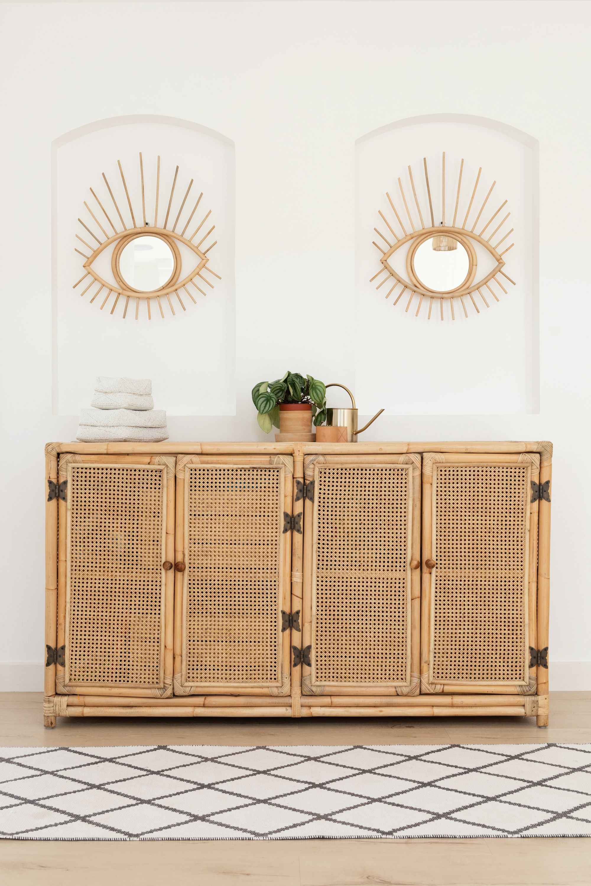 Boho Home Decor, Open Rattan Sideboard, Sideboard Styling With Joyner Sideboards (Image 6 of 30)