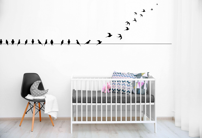 Boho Wall Vinyl Decal Bird Wire Art, Boho Bird Home Decor within Birds on a Wire Wall Decor (Image 17 of 30)