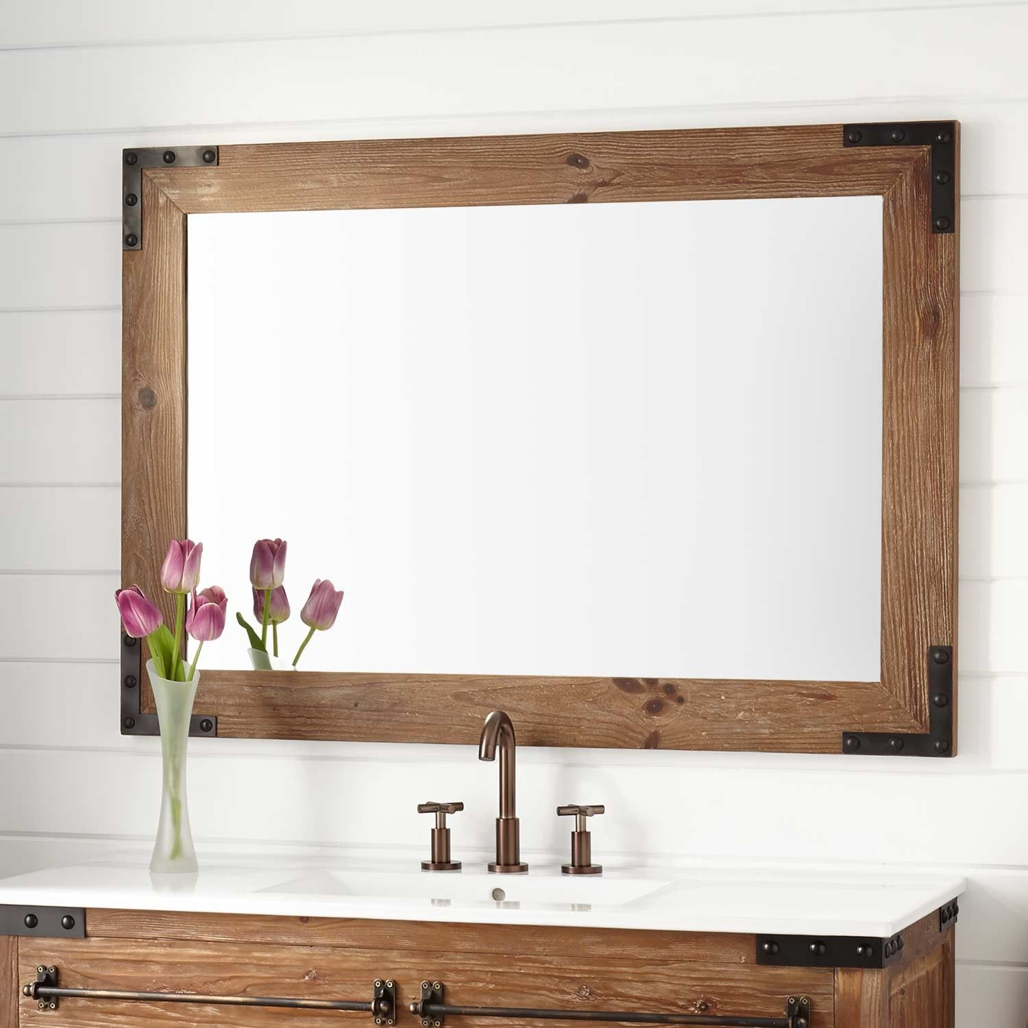 Bonner Reclaimed Wood Vanity Mirror – Pine | Bathroom Ideas Inside Landover Rustic Distressed Bathroom/vanity Mirrors (View 7 of 30)