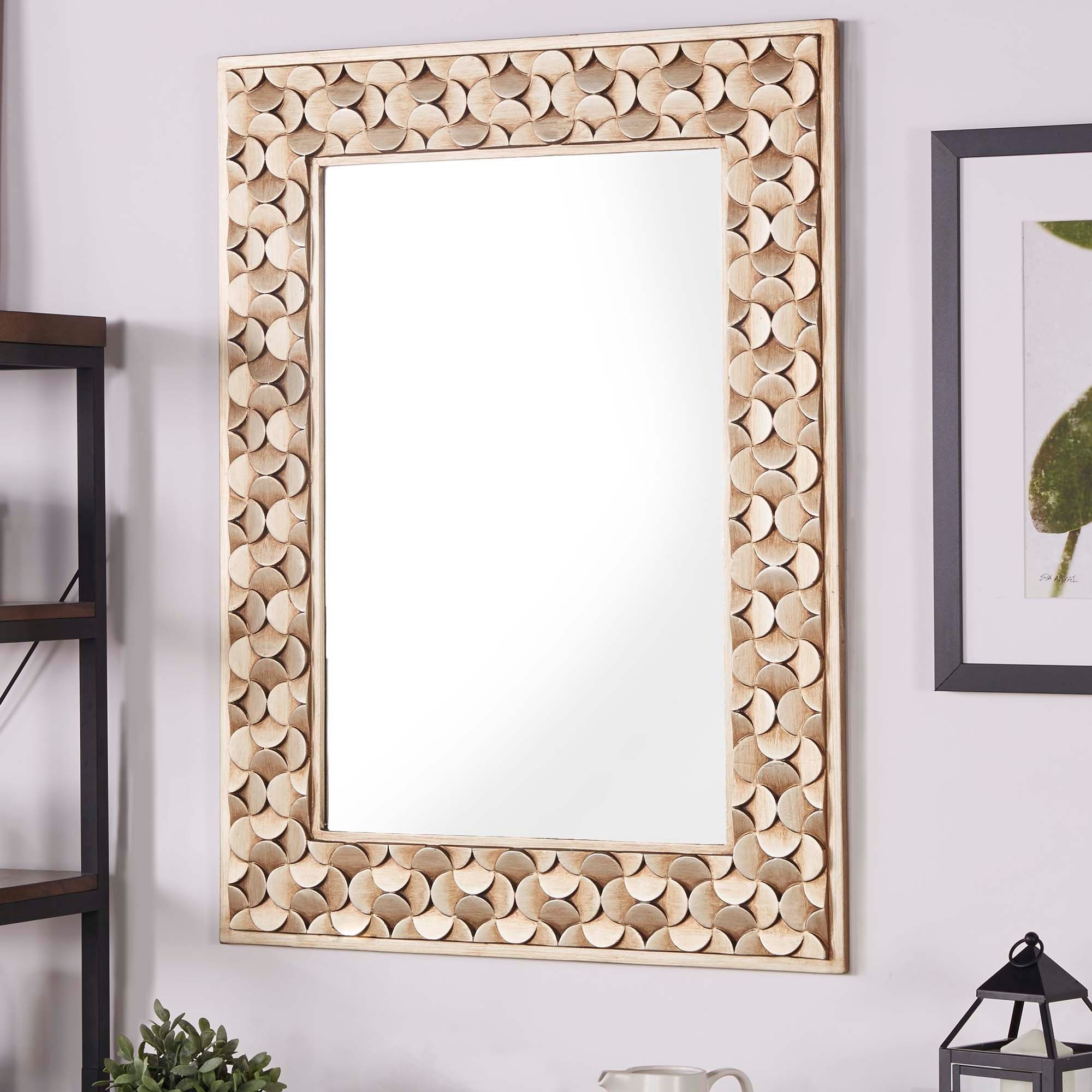 Borghese Champagne Finish Rectangular Accent Wall Mirror With Regard To Rectangle Accent Wall Mirrors (View 21 of 30)