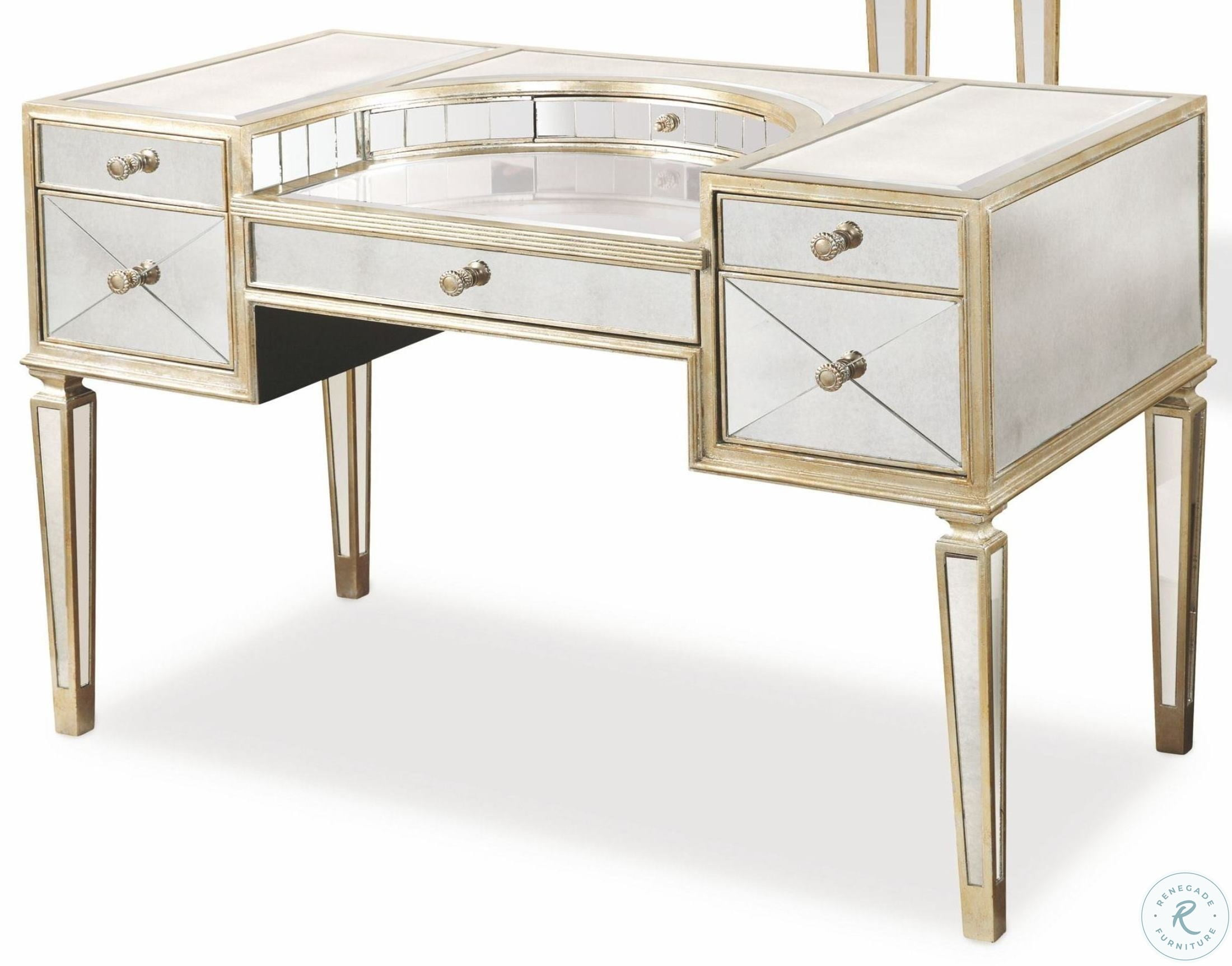Borghese Mirrored Desk inside Rena Accent Mirrors (Image 4 of 30)