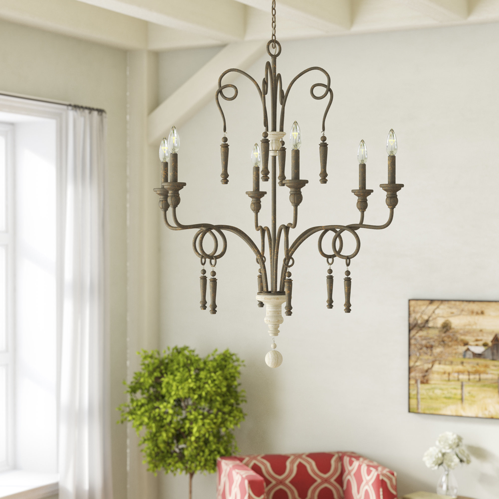 Bouchette 6 Light Candle Style Chandelier With Bouchette Traditional 6 Light Candle Style Chandeliers (View 4 of 30)