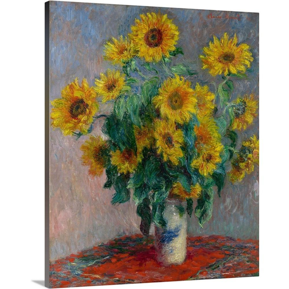"""""""bouquet Of Sunflowers""""claude Monet Canvas Wall Art In 1 Piece Ortie Panel Wall Decor (View 1 of 30)"""
