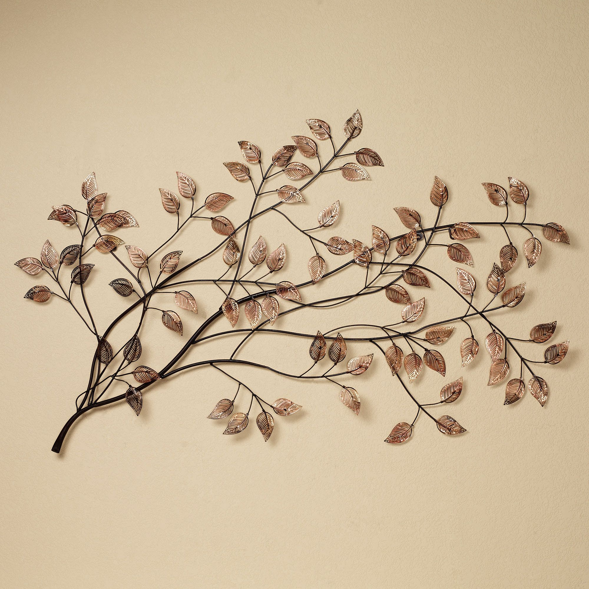 Branches At Sunrise Leaf Metal Wall Sculpture | Walls In Tree Shell Leaves Sculpture Wall Decor (View 17 of 30)