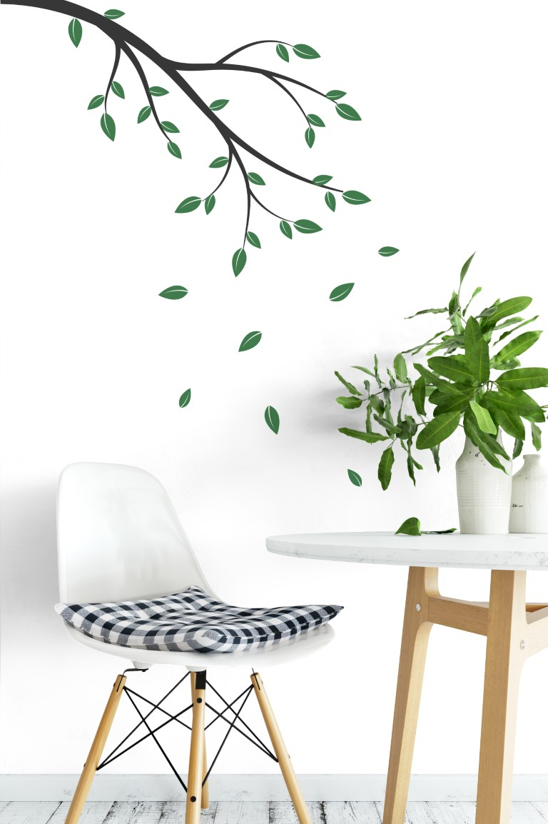 Branches With Falling Leaves Wall Sticker regarding Flowing Leaves Wall Decor (Image 1 of 30)