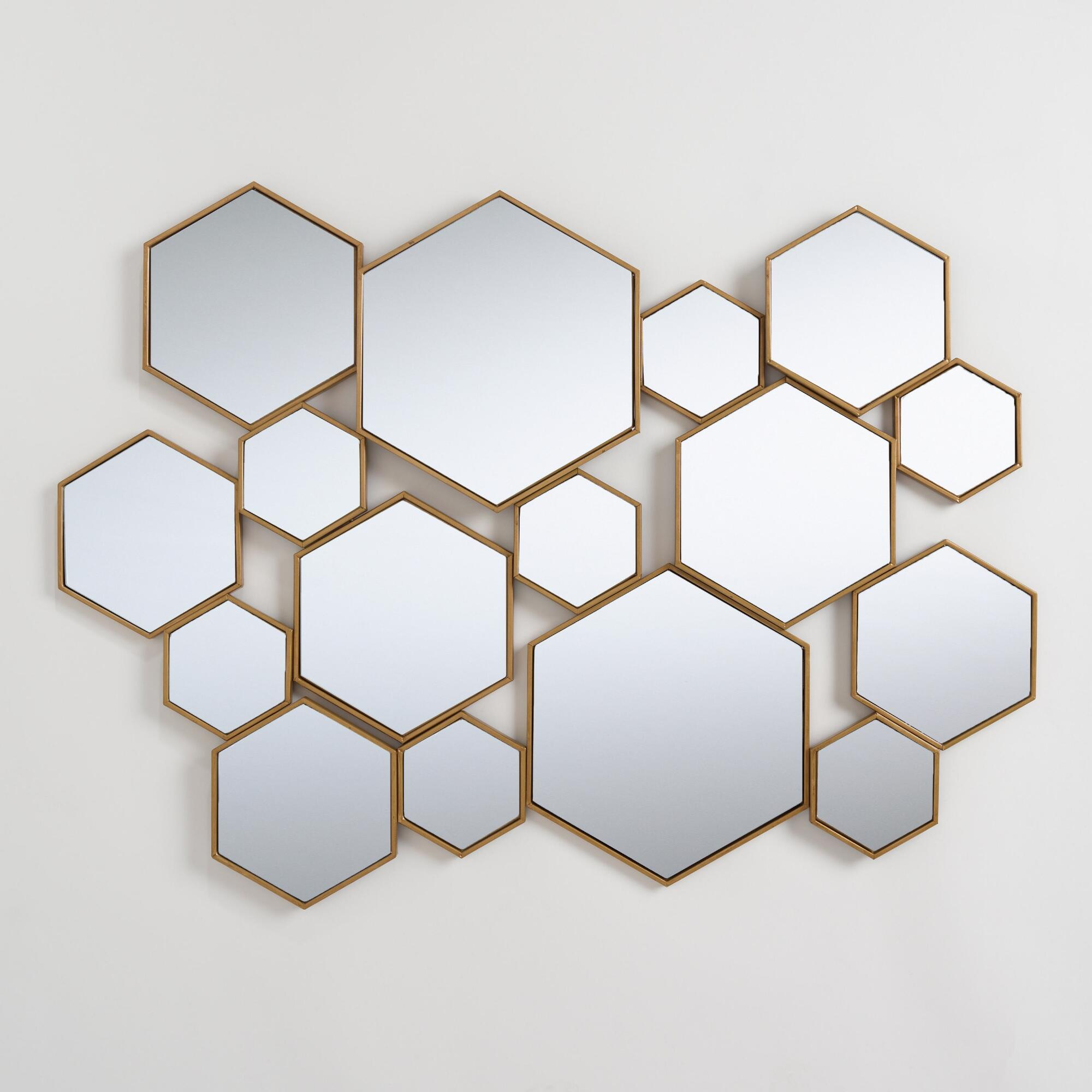 Brass Metal Hexagon Mirror Panel: Metallic/goldworld within Swagger Accent Wall Mirrors (Image 3 of 30)
