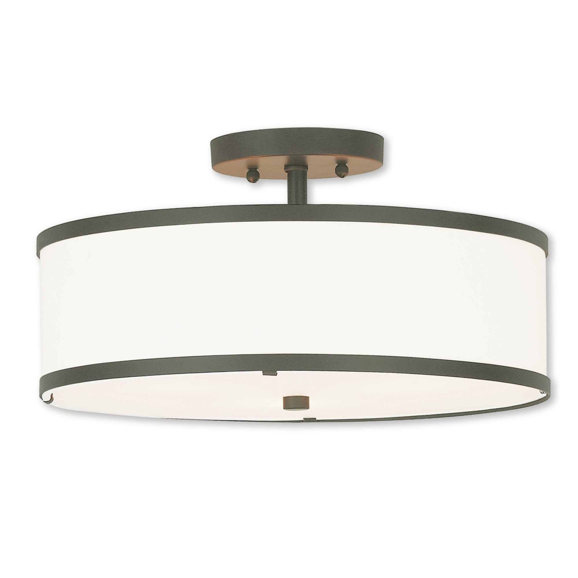 Breithaup Drum Cylinder Shade 3 Light Semi Flush Mount Throughout Breithaup 4 Light Drum Chandeliers (View 15 of 30)