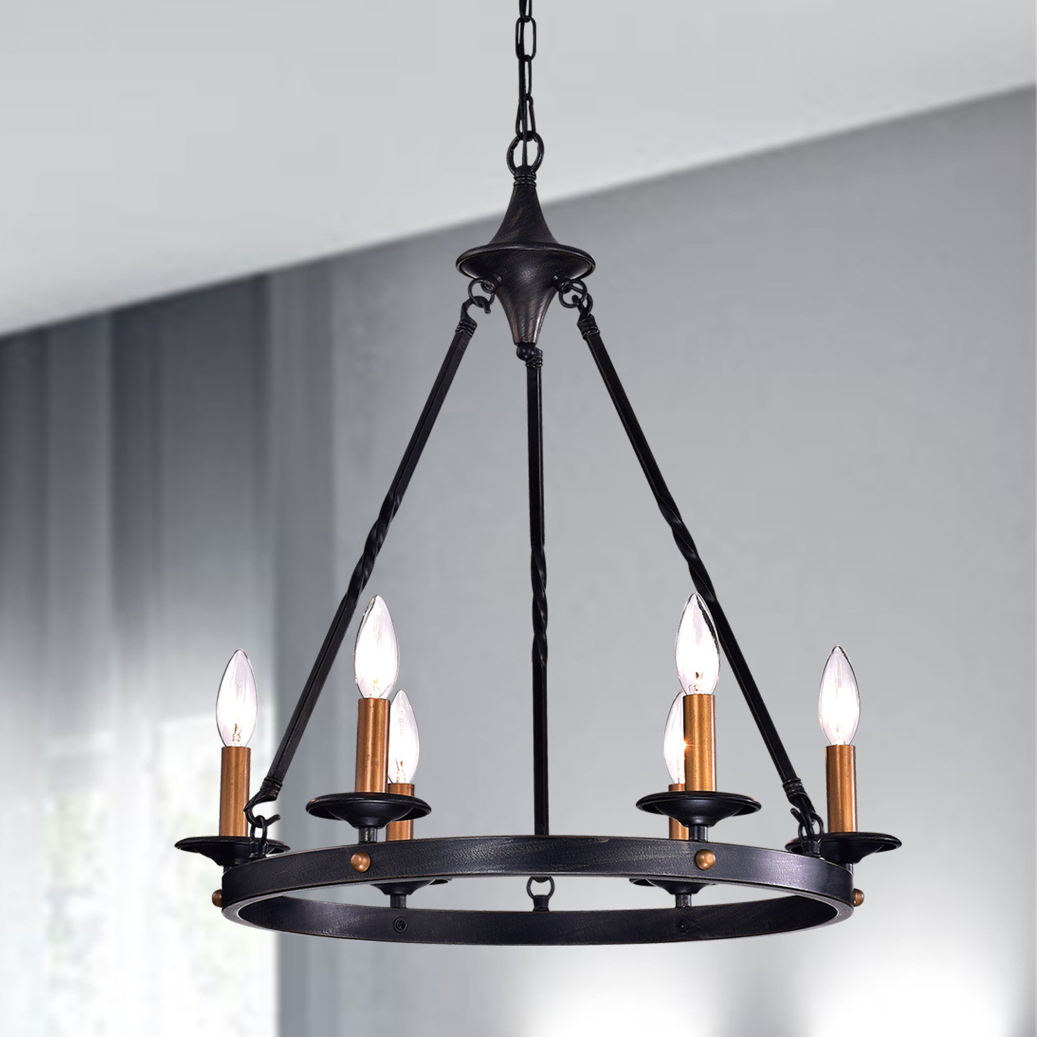 Brian 6 Light Wagon Wheel Chandelier Regarding Rockland 4 Light Geometric Pendants (View 11 of 30)