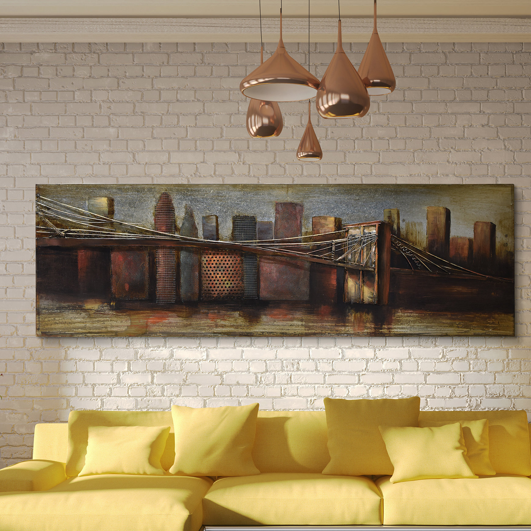 "Featured Photo of ""Bridge To The City"" Mixed Media Iron Hand Painted Dimensional Wall Decor"