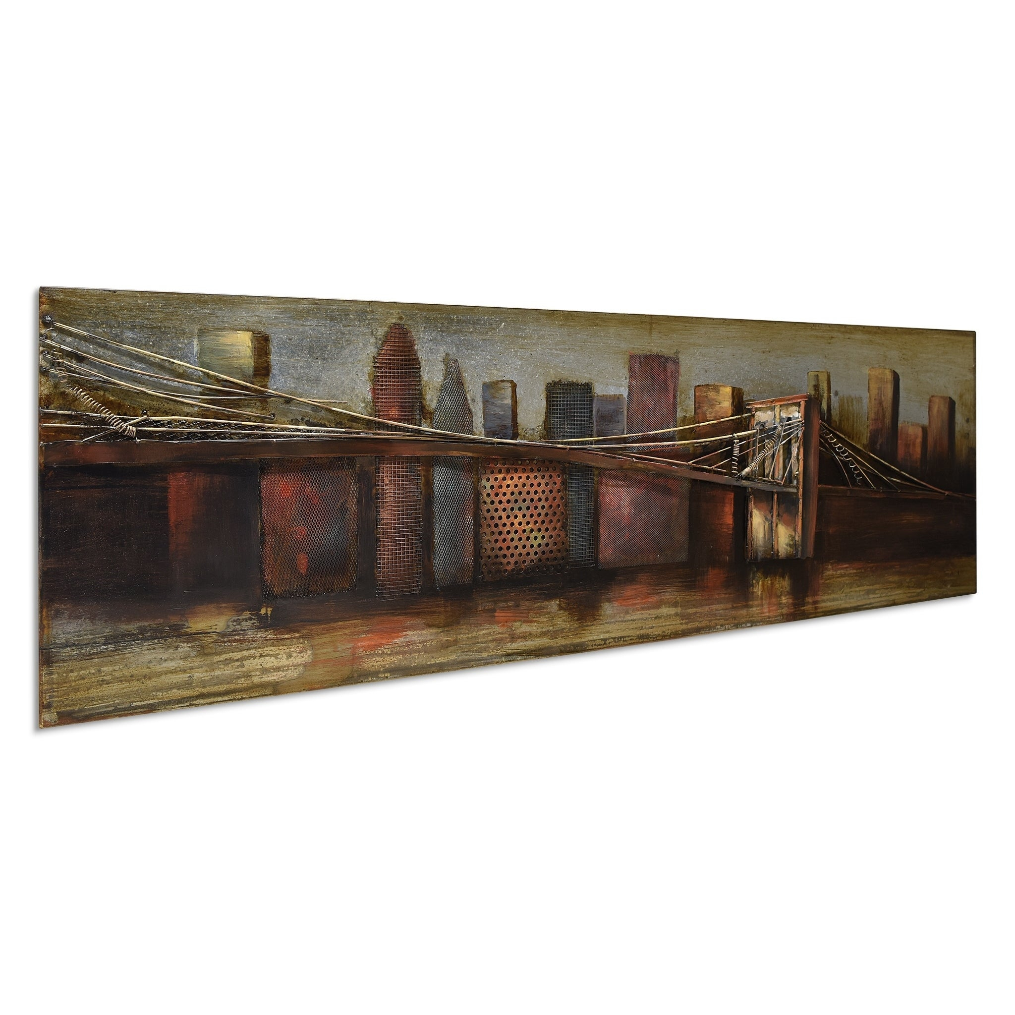 """bridge To The City 1"" Mixed Media Iron Hand Painted Dimensional Wall Décor Inside ""bridge To The City"" Mixed Media Iron Hand Painted Dimensional Wall Decor (View 4 of 30)"