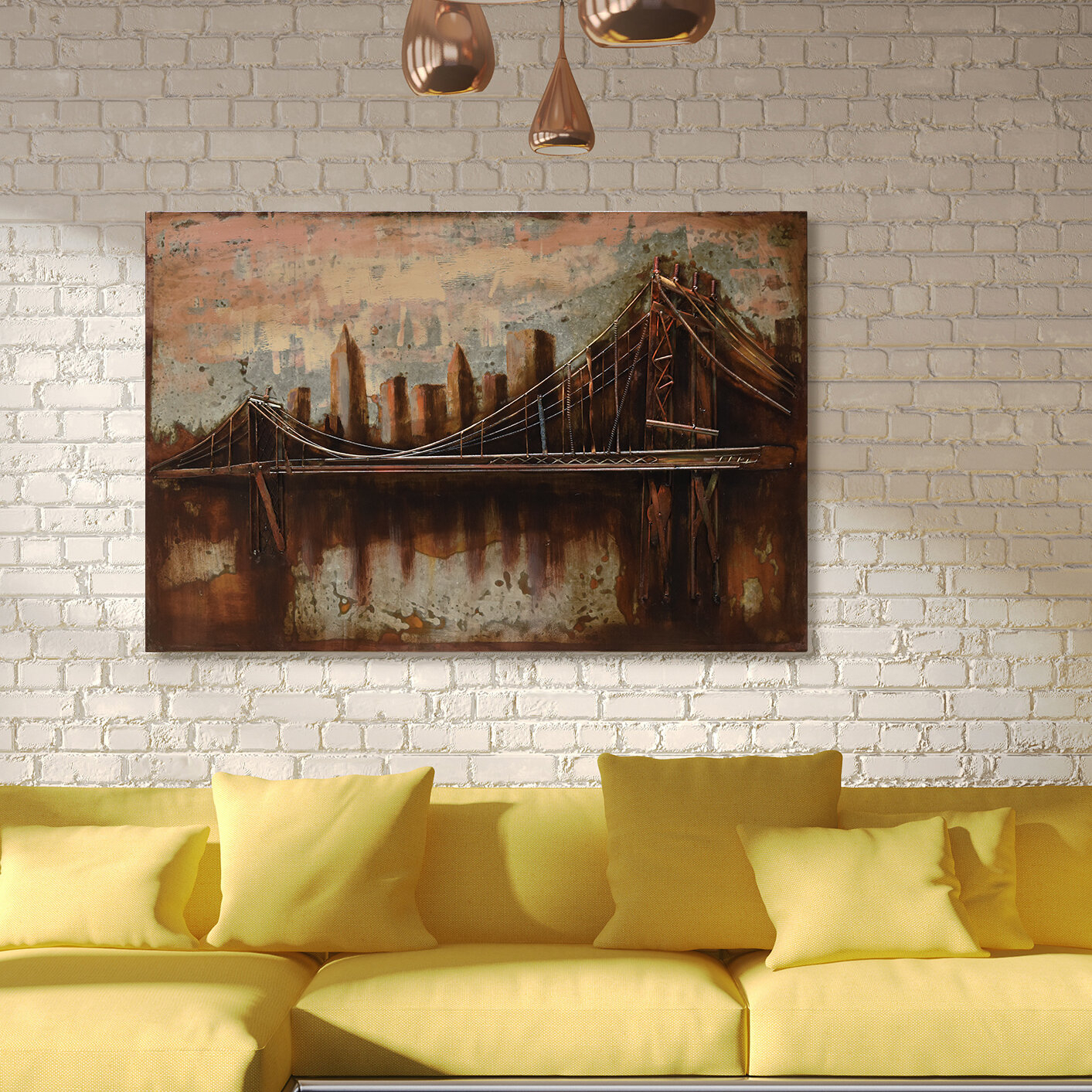"""bridgescape"" Mixed Media Iron Hand Painted Dimensional Wall Décor Throughout ""bridge To The City"" Mixed Media Iron Hand Painted Dimensional Wall Decor (View 6 of 30)"