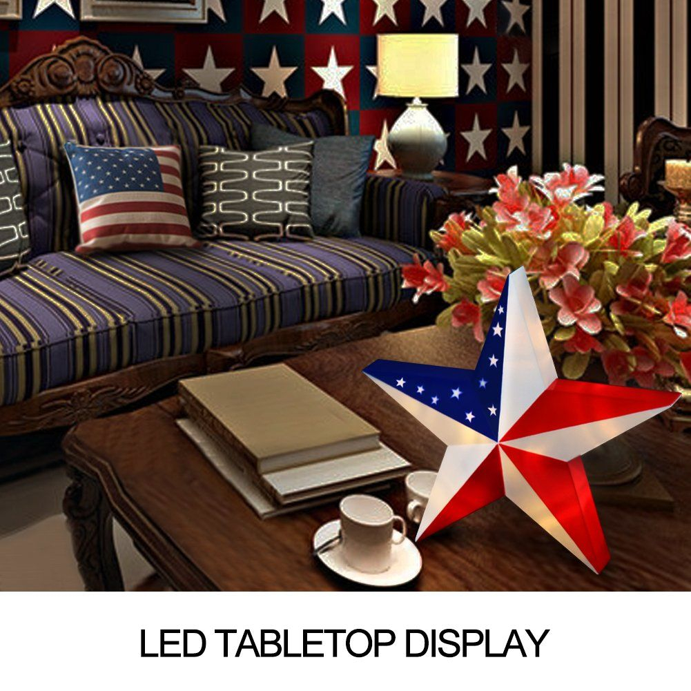 Bright Zeal 13 Led 3D American Flag Star Wall Decor Throughout American Flag 3D Wall Decor (Image 19 of 30)