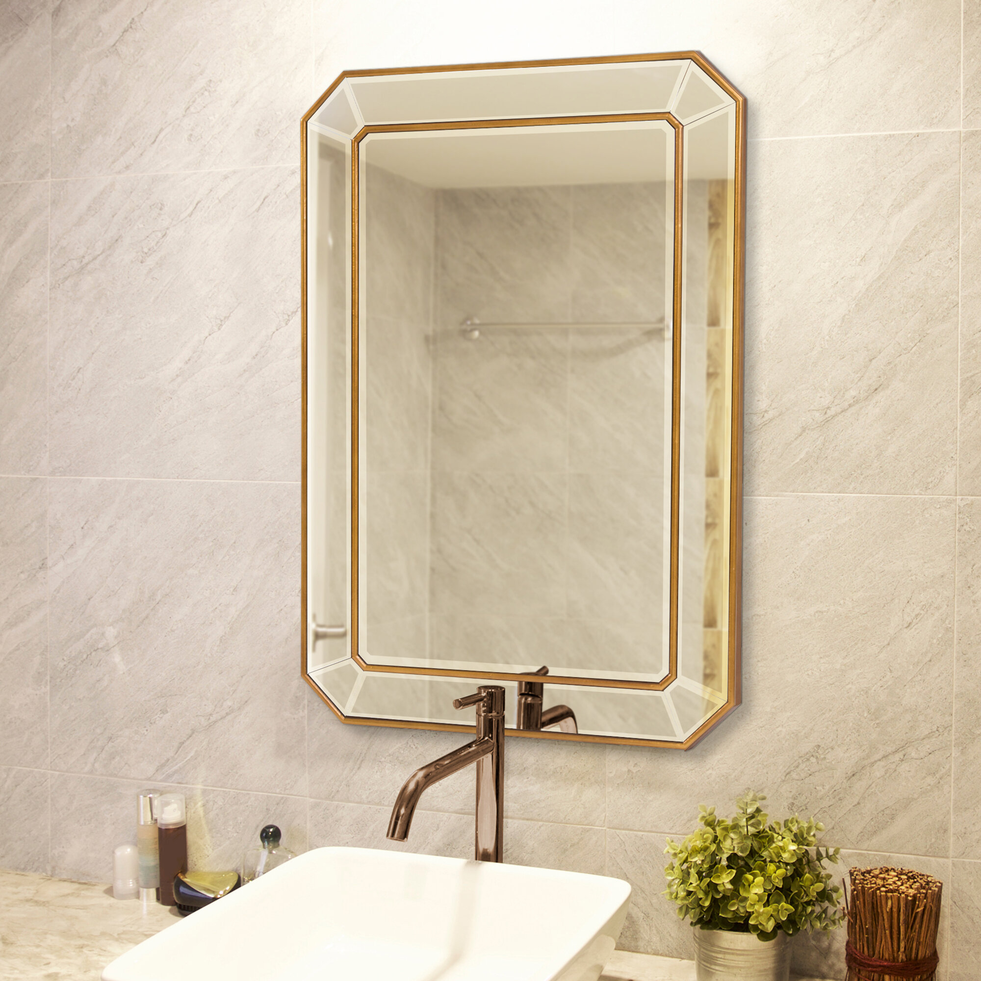 Briley Rectangle Gold Angled Accent Wall Mirror Inside Rectangle Accent Wall Mirrors (View 8 of 30)