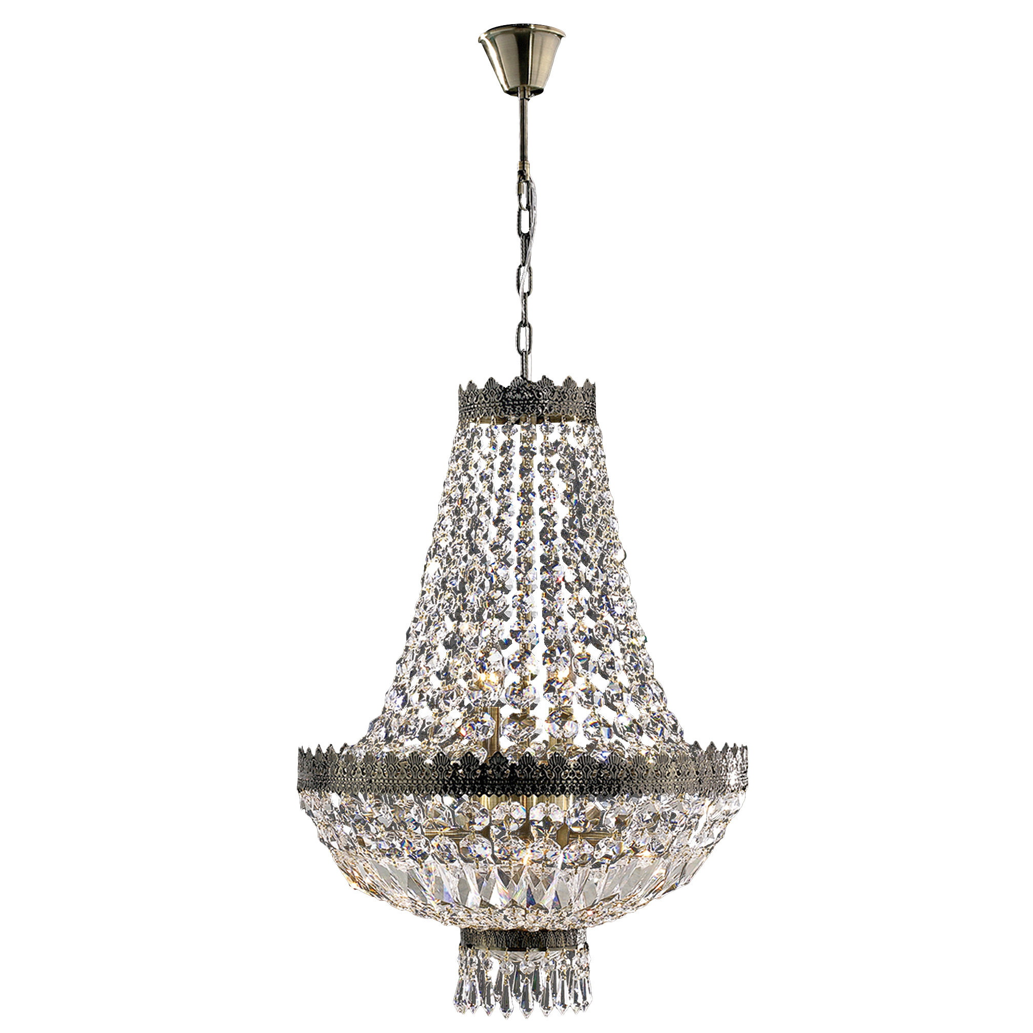 Brimstone 1 Tier 6-Light Empire Chandelier with Spokane 1-Light Single Urn Pendants (Image 8 of 30)