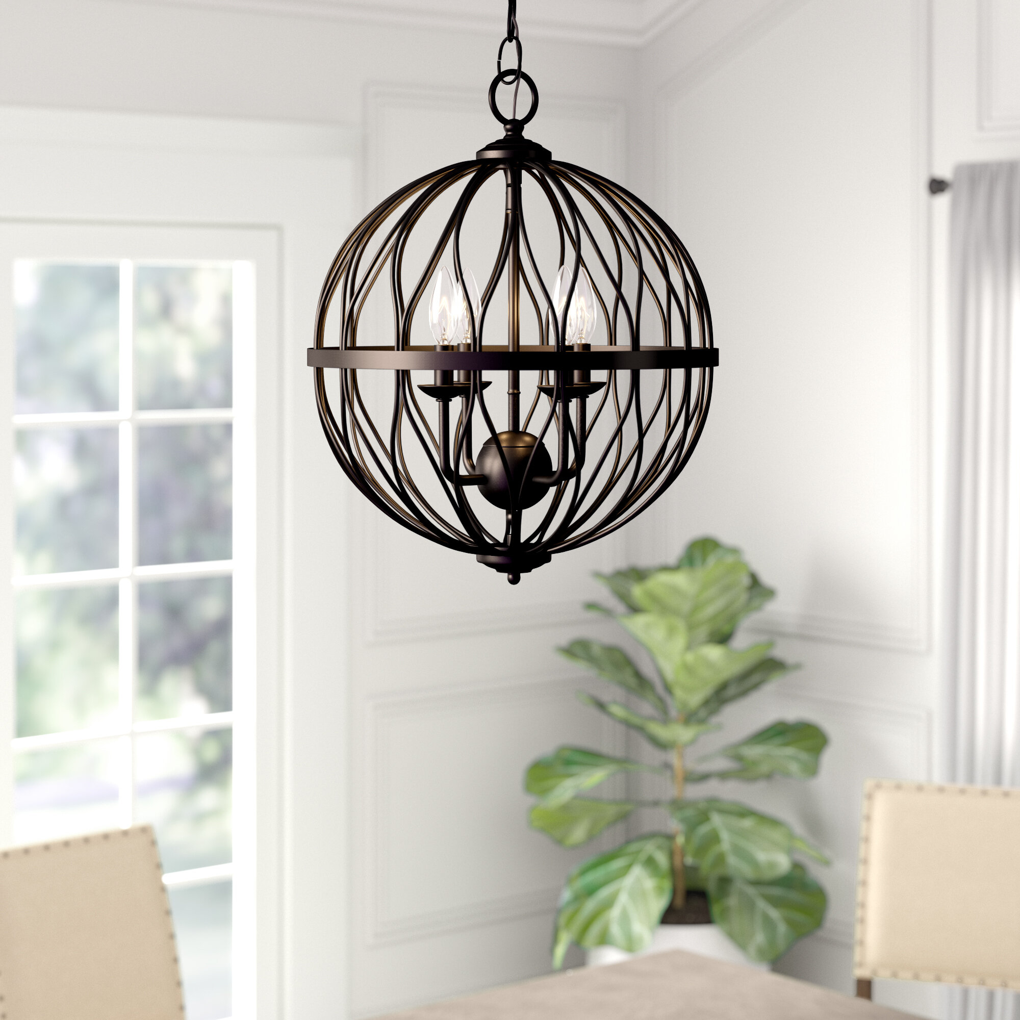 Brittain 3-Light Globe Chandelier intended for Joon 6-Light Globe Chandeliers (Image 3 of 30)