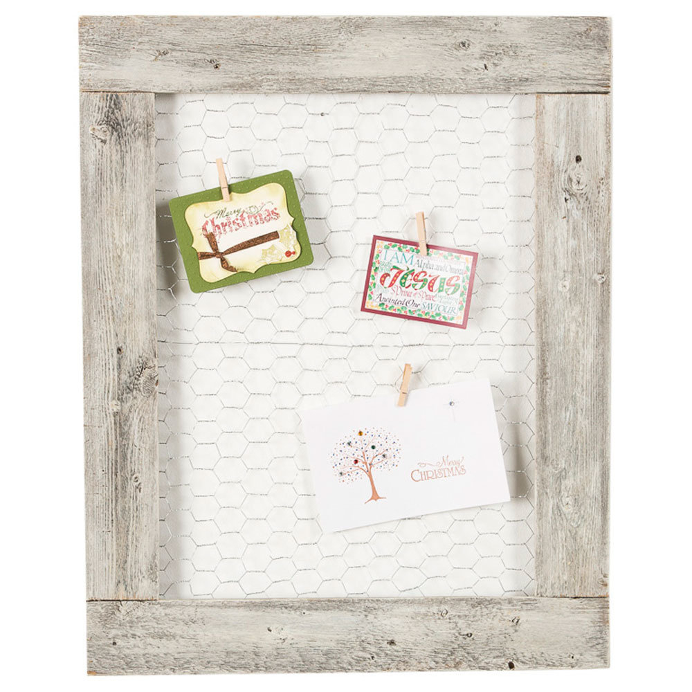 Brittin Barnwood Chicken Wire Photo Display Picture Frame pertaining to Millanocket Metal Wheel Photo Holder Wall Decor (Image 5 of 30)