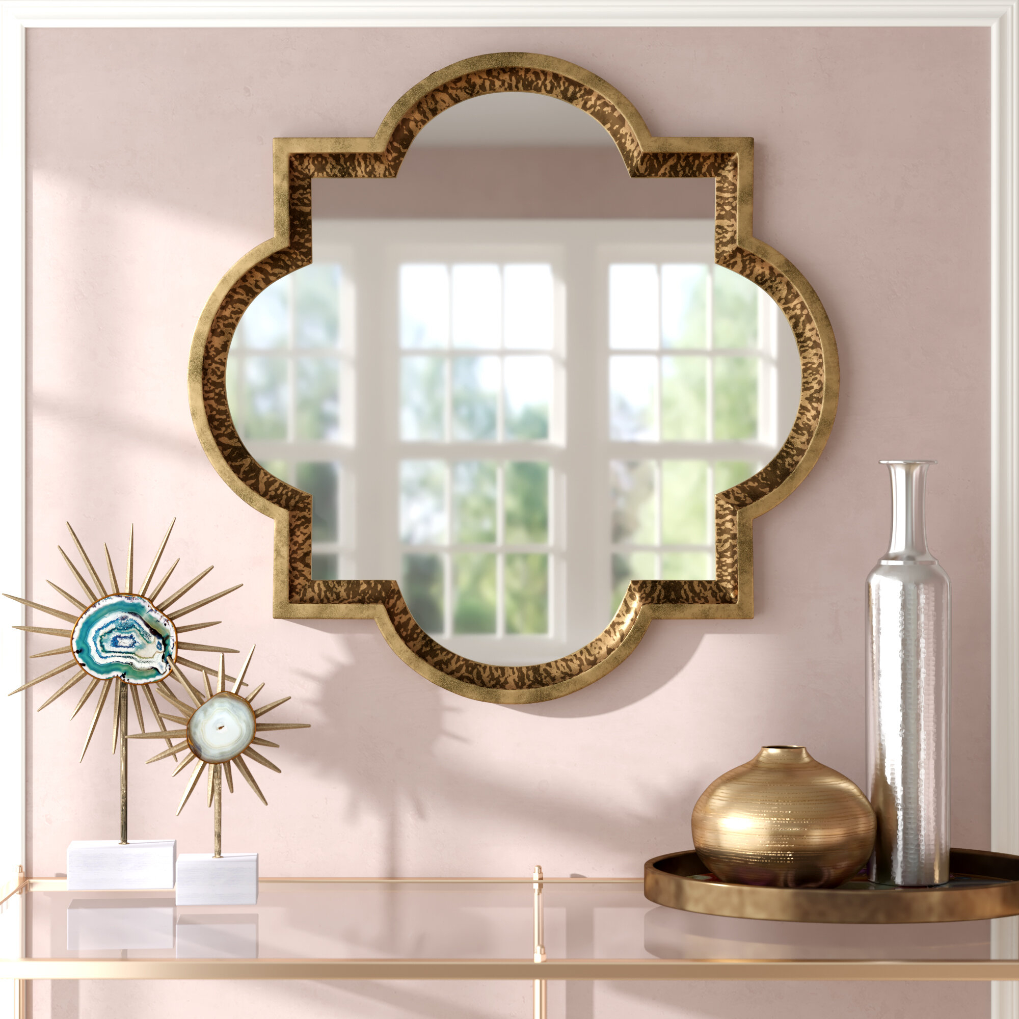 Bronze Metal Framed Mirrors | Wayfair With Regard To Traditional Metal Wall Mirrors (View 2 of 30)