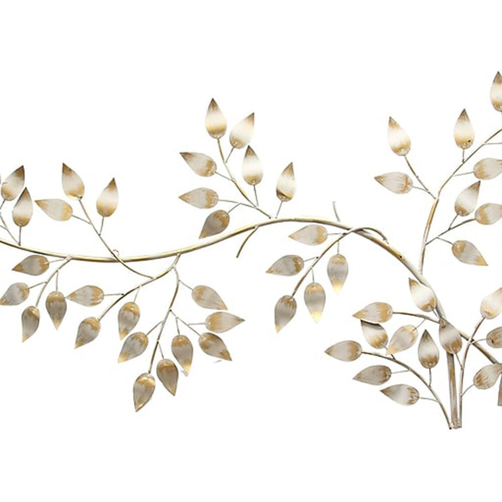 Brushed Gold Flowing Leaves Wall Decor in Flowing Leaves Wall Decor (Image 3 of 30)