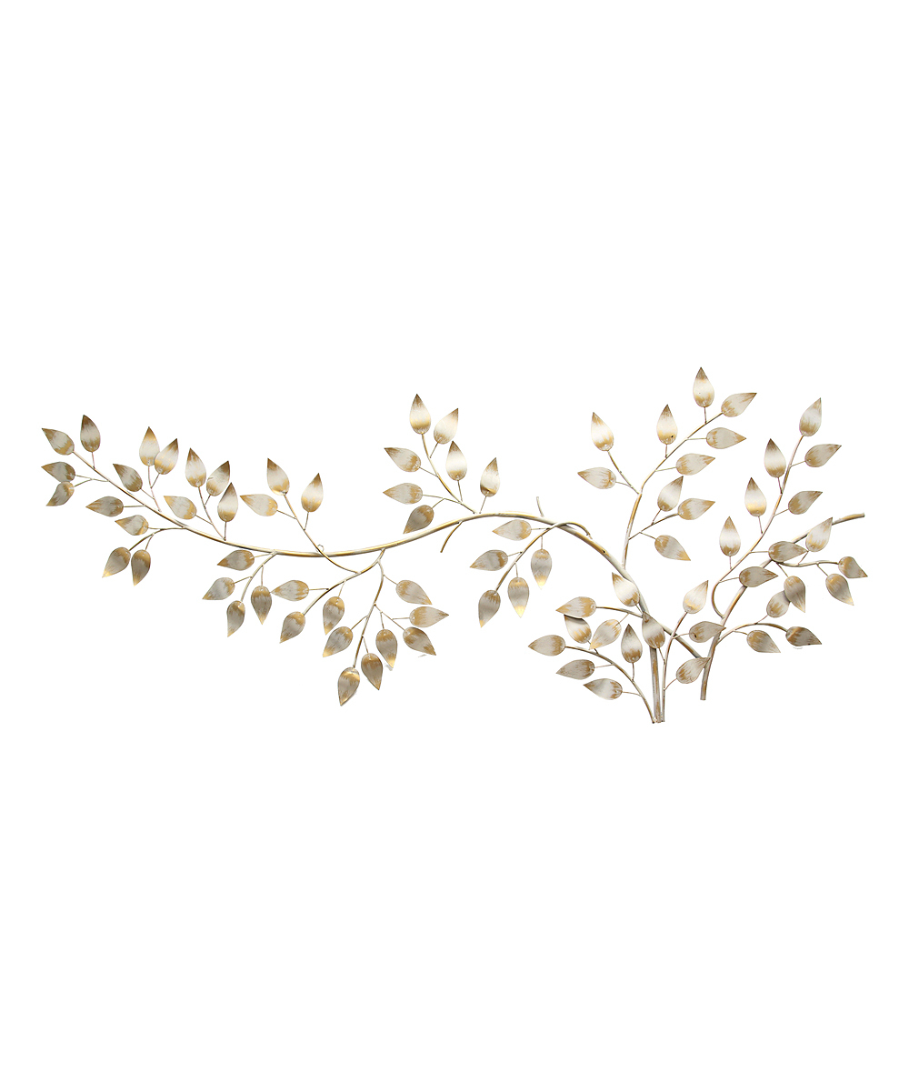 Brushed Gold Flowing Leaves Wall Décor regarding Flowing Leaves Wall Decor (Image 4 of 30)
