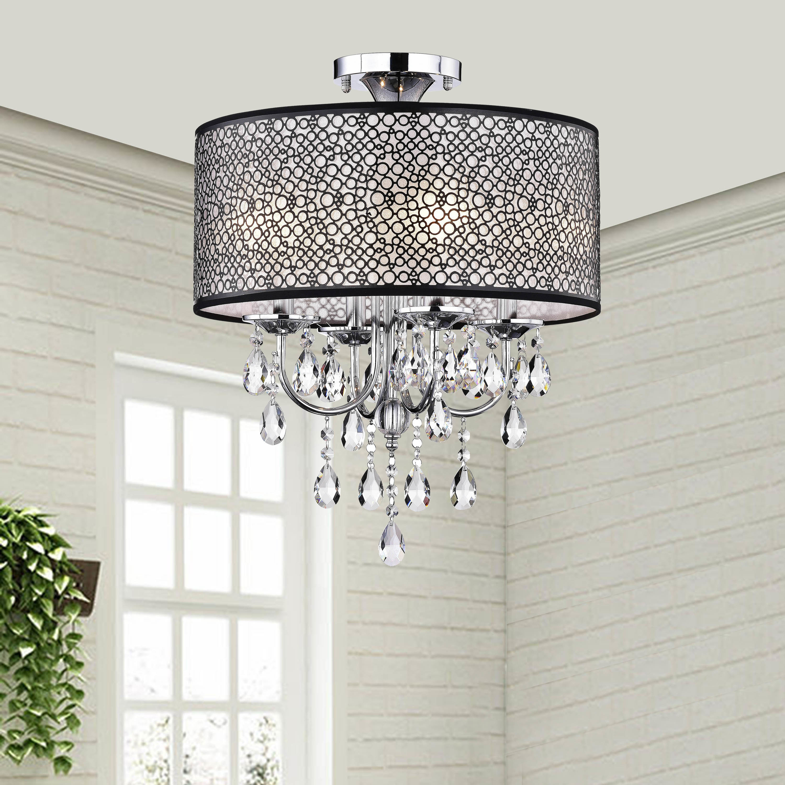 Bubble Shade Crystal And Chrome Flushmount Chandelier for Aldgate 4-Light Crystal Chandeliers (Image 10 of 30)