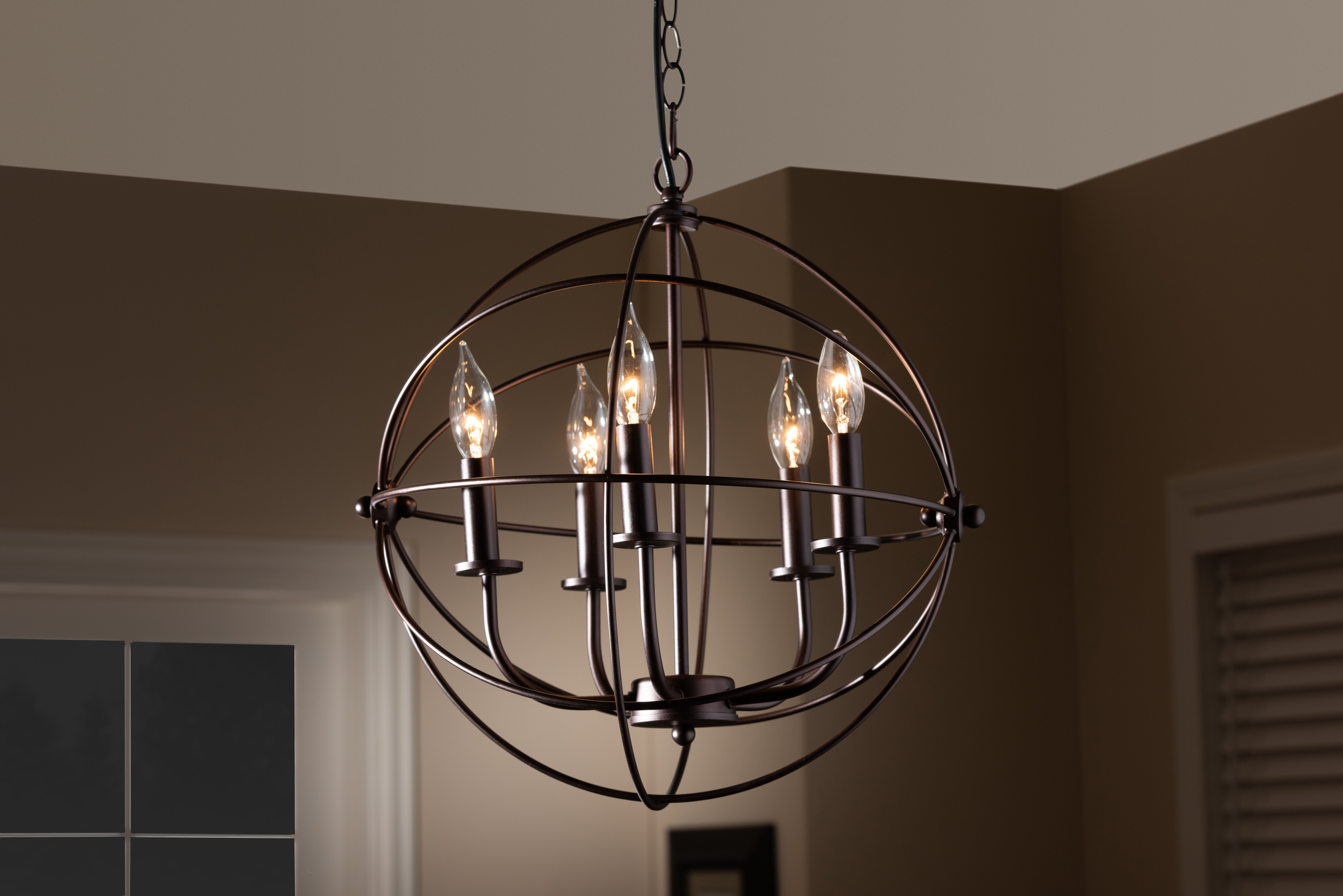 Bucci Orb Cage 5-Light Globe Chandelier within Waldron 5-Light Globe Chandeliers (Image 3 of 30)