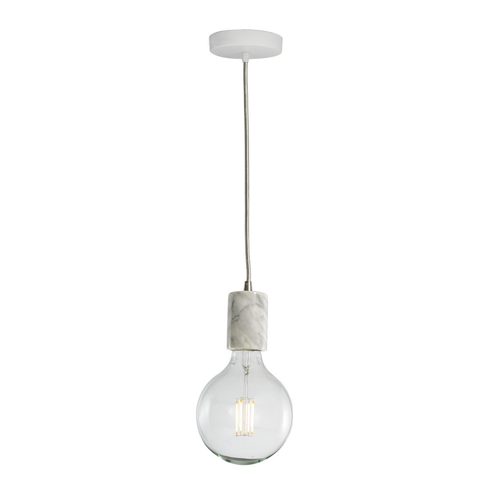Bulbrite 1 Light White Natural Marble Pendant Socket And Canopy With Led 7w G40 Filament Light Bulb Pertaining To Vintage Edison 1 Light Bowl Pendants (View 20 of 30)