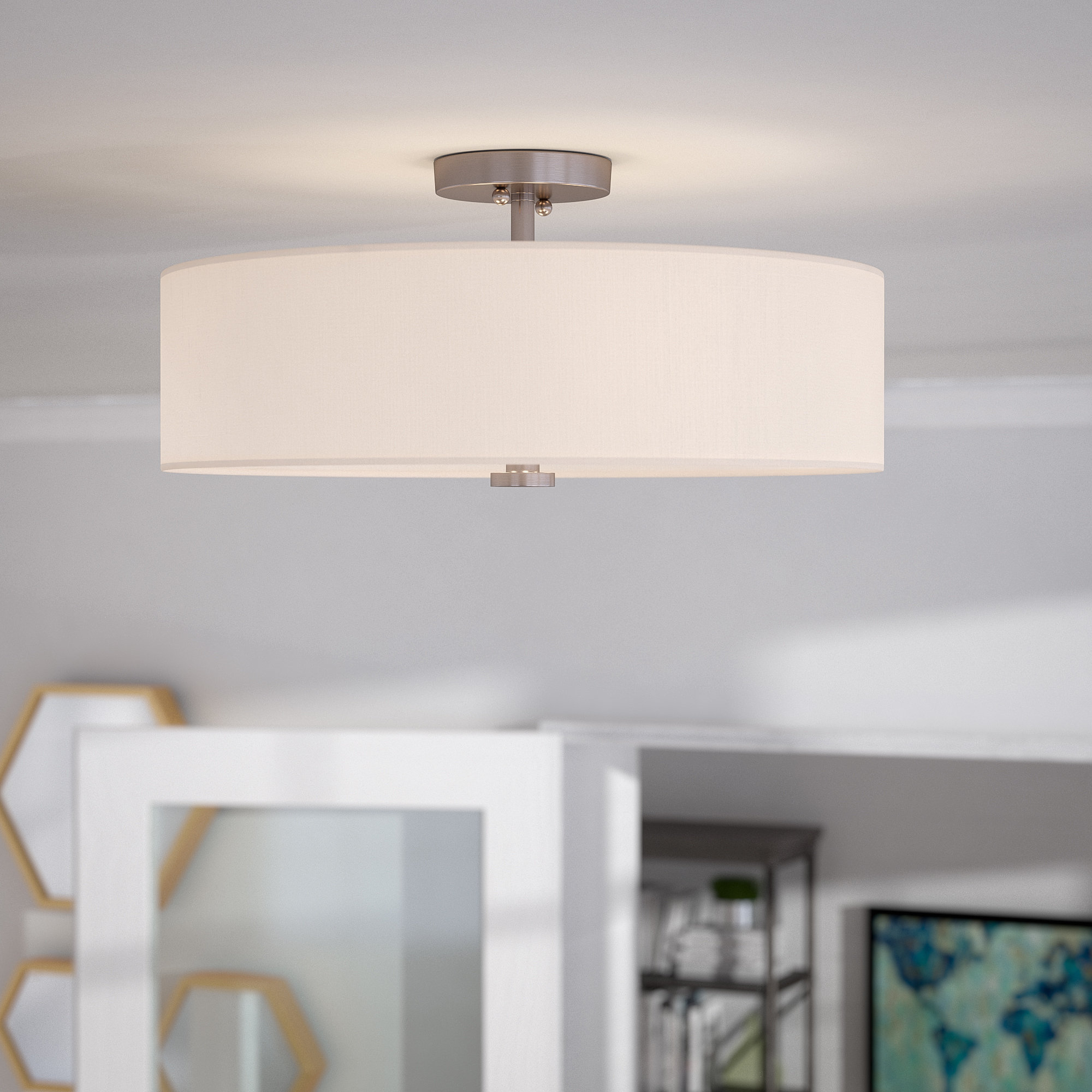 Burgoon 4 Light Semi Flush Mount With Regard To Breithaup 4 Light Drum Chandeliers (View 10 of 30)
