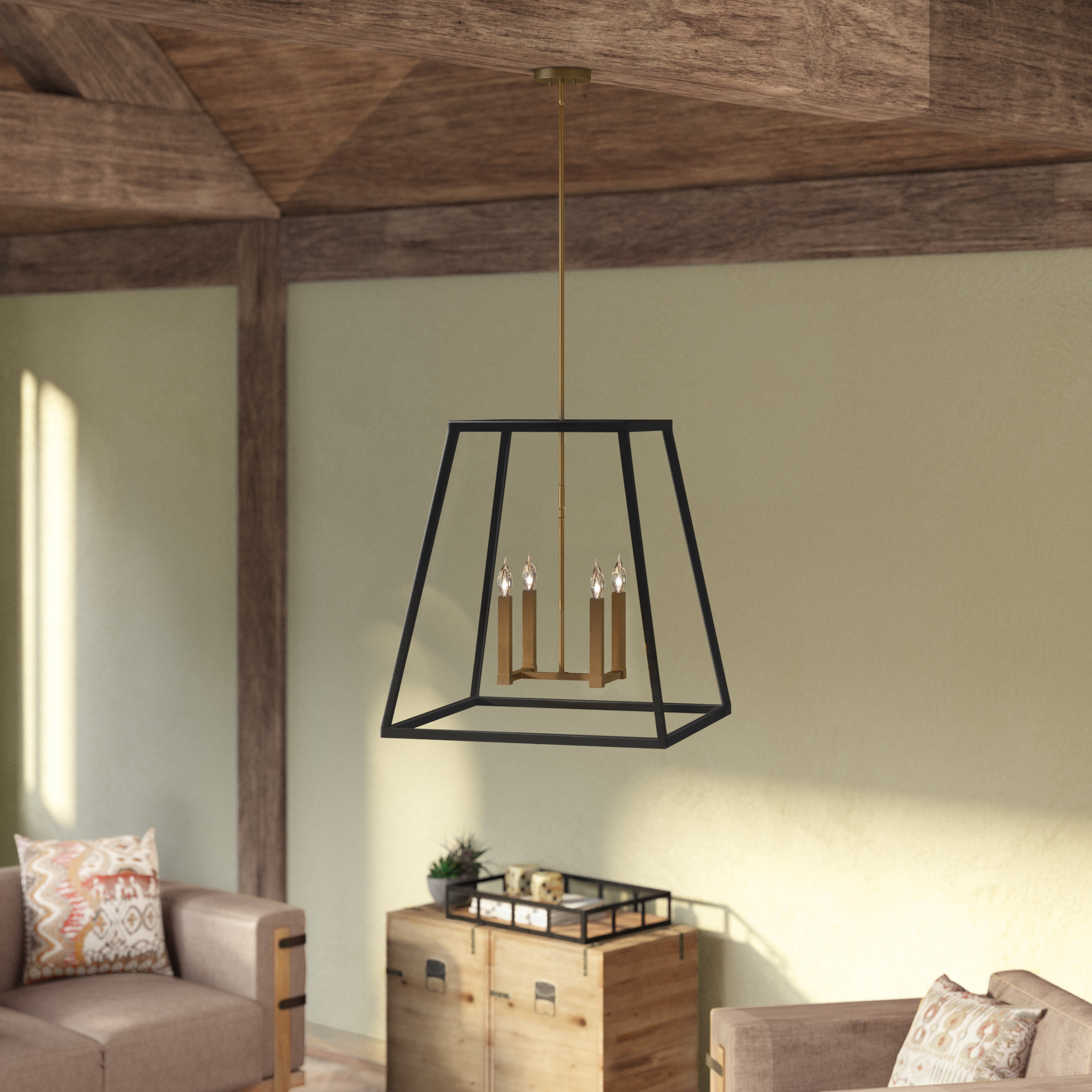 Burley Oak 4 Light Square/rectangle Pendant Inside Odie 8 Light Lantern Square / Rectangle Pendants (View 3 of 30)