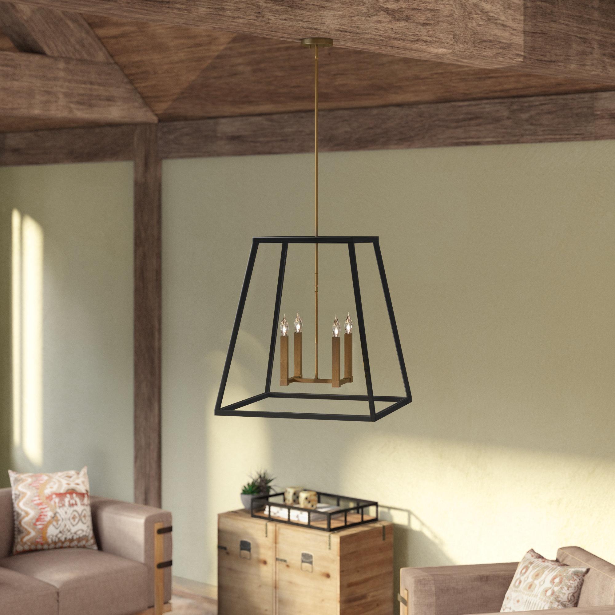 Burley Oak 4-Light Square/rectangle Pendant inside Odie 8-Light Lantern Square / Rectangle Pendants (Image 3 of 30)