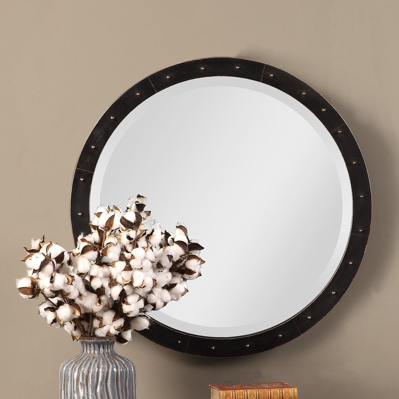Burt Round Industrial Accent Mirror Intended For Austin Industrial Accent Mirrors (Image 10 of 30)