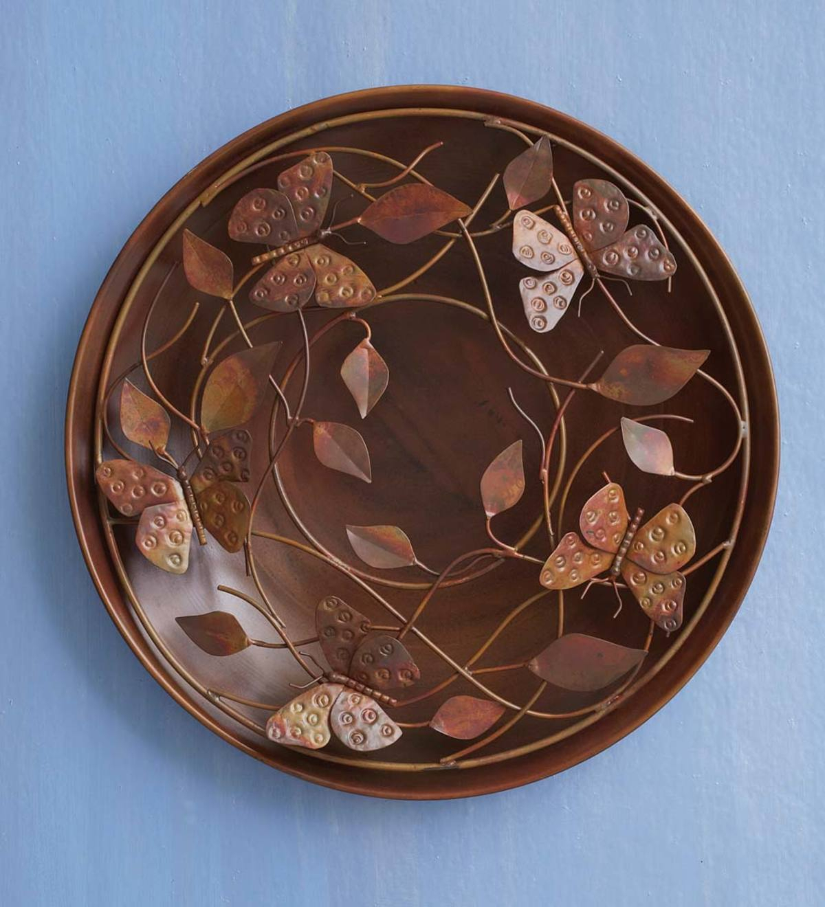 Butterfly And Leaf Metal Wall Art | Vivaterra With Regard To Flower And Butterfly Urban Design Metal Wall Decor (View 24 of 30)