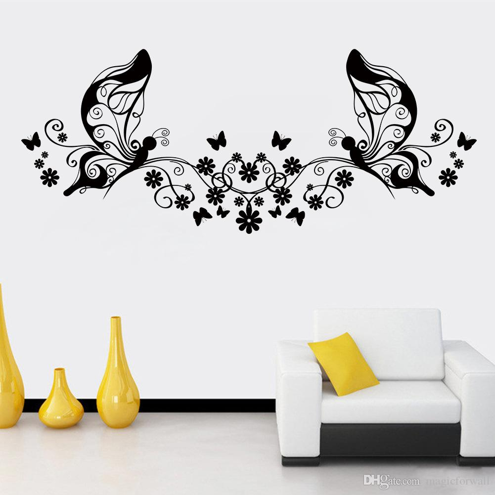 Butterfly Flower Vine Wall Art Decal Sticker Butterfly Fairy Wall Art Mural Decor Living Room Bedroom Tv Background Wall Decoration Applique With Regard To Three Flowers On Vine Wall Decor (View 6 of 30)