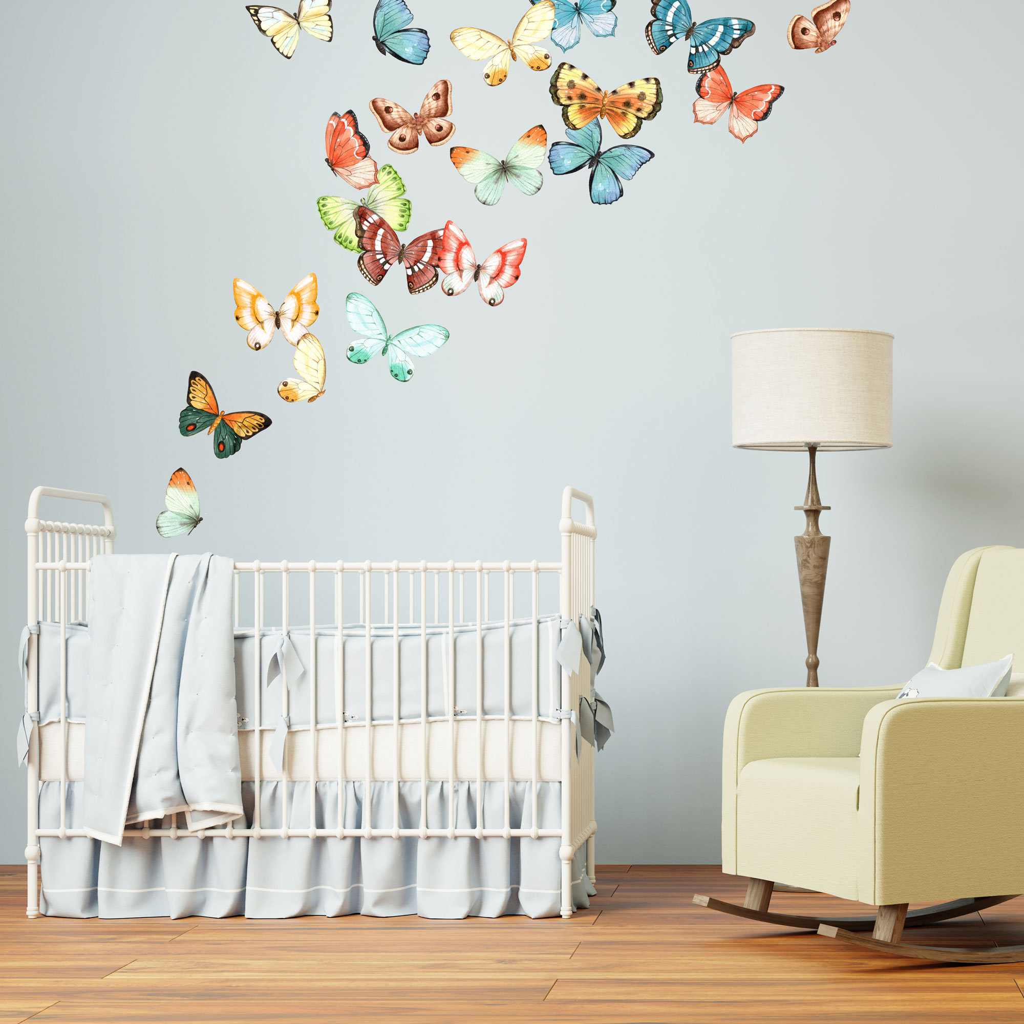 Butterfly Wall Decals Made From Peel And Stick Wallpaper Material – Removable – 20 Butterflies Included – Wb920 Intended For 3 Piece Capri Butterfly Wall Decor Sets (View 23 of 30)