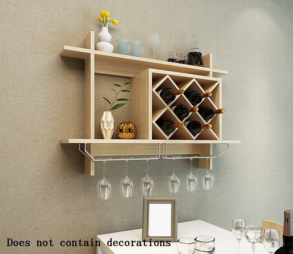 Buy Alus Hanging Type Wood Based Panels Wine Wine Cabinet Throughout Three Glass Holder Wall Decor (View 15 of 30)