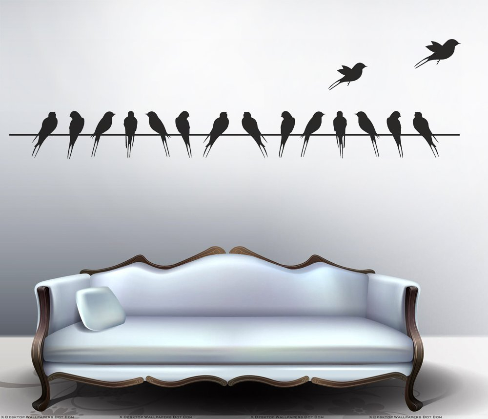 Buy Decals Design Beautiful Long Tail Birds On Wire Wall with Birds On A Wire Wall Decor (Image 18 of 30)