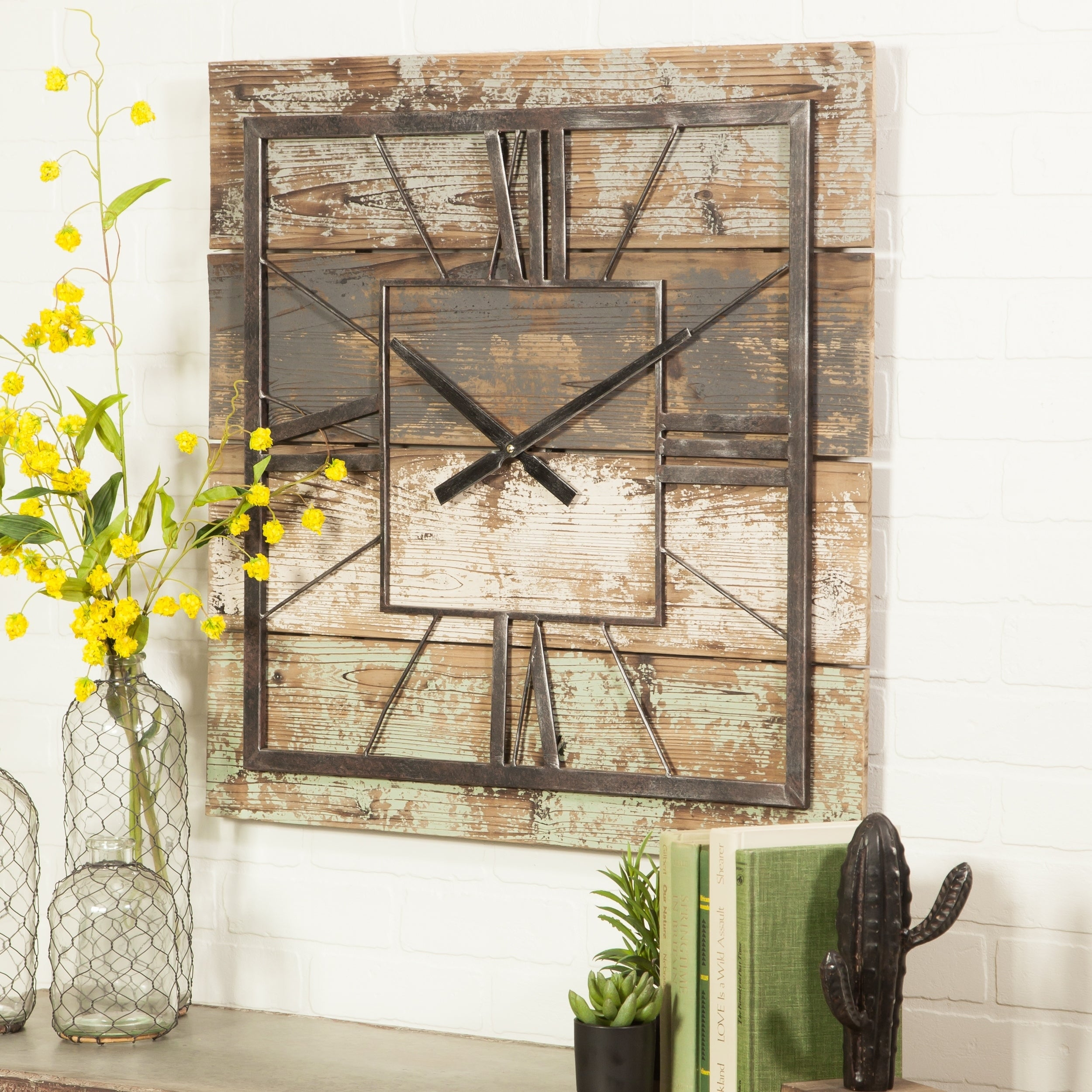 Buy Wall Clocks Online At Overstock | Our Best Decorative Within Personalized Mint Distressed Vintage Look Laundry Metal Sign Wall Decor (View 20 of 30)