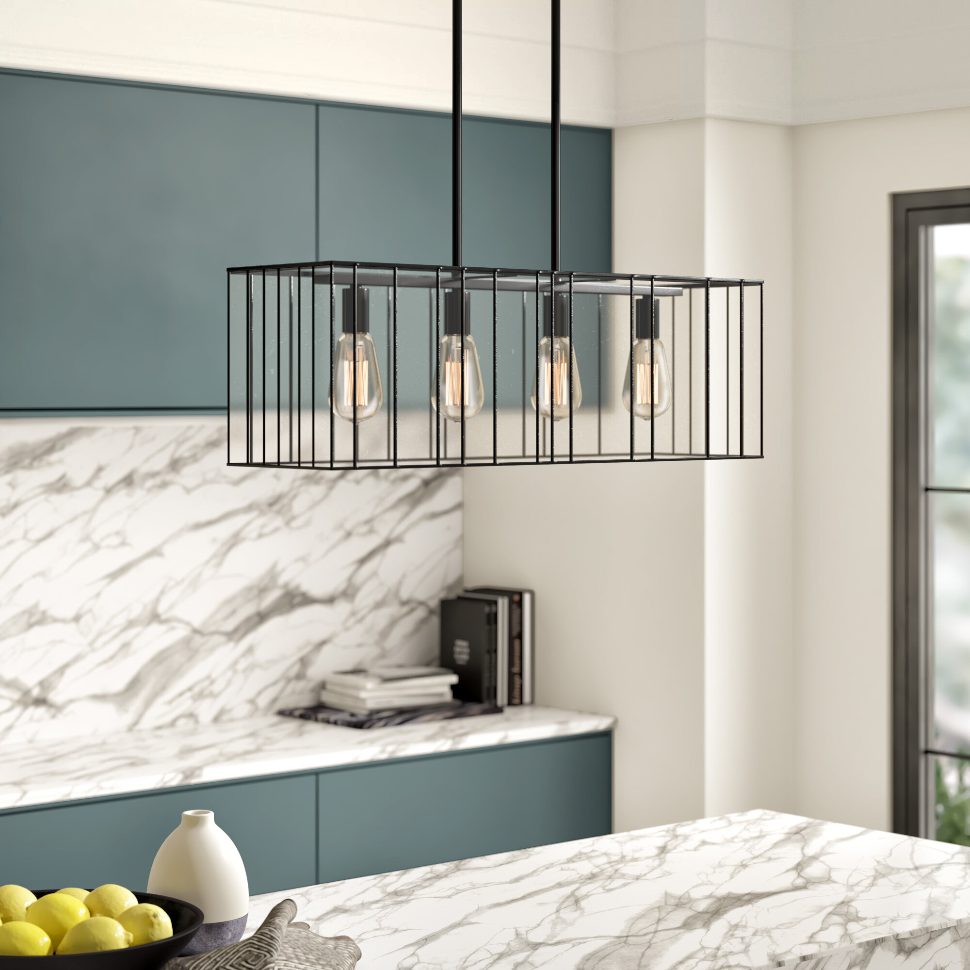 Byford 4-Light Kitchen Island Linear Pendant for Odie 8-Light Kitchen Island Square / Rectangle Pendants (Image 4 of 30)
