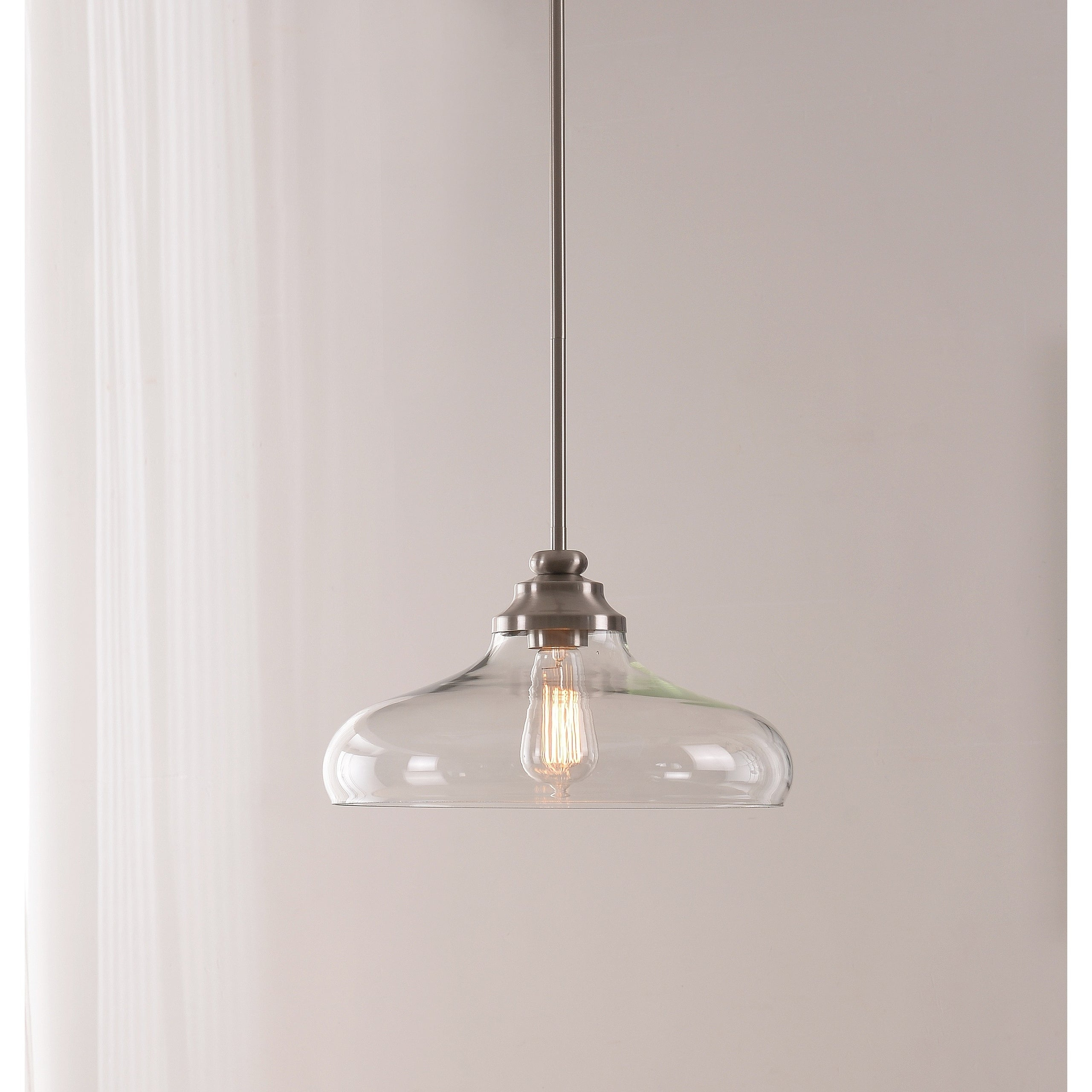 Caden 1 Light Pendant – Brushed Steel With Clear Glass Pertaining To Cayden 1 Light Single Globe Pendants (View 5 of 30)