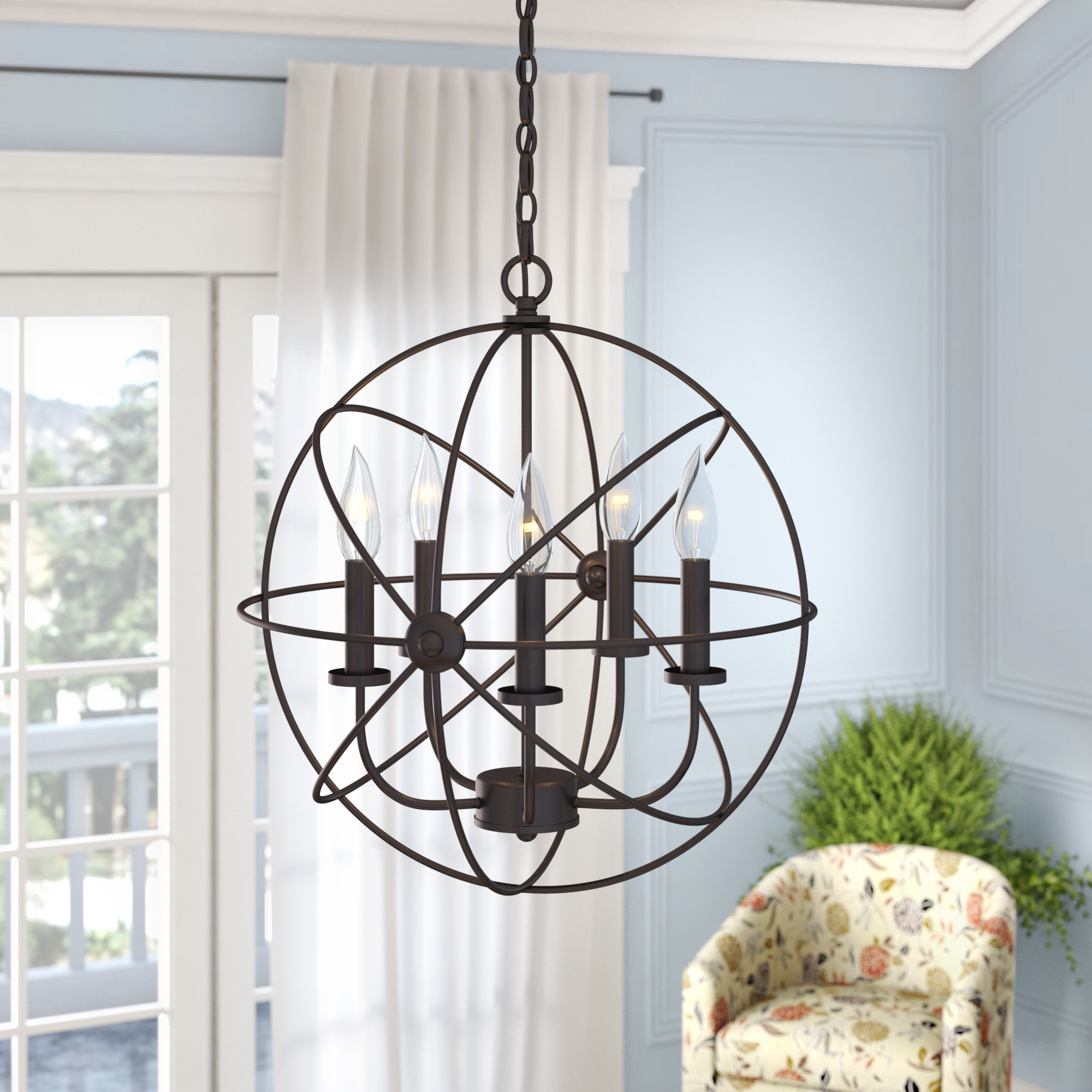 Caius 5 Light Globe Chandelier With Regard To Verlene Foyer 5 Light Globe Chandeliers (View 17 of 30)