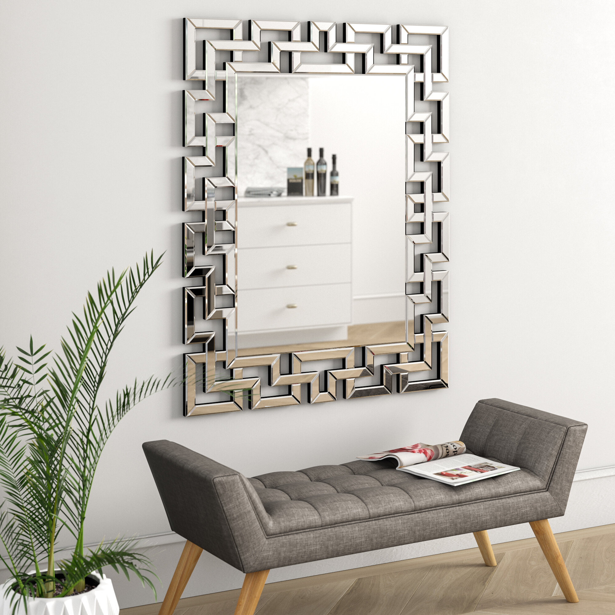 Caja Rectangle Glass Frame Wall Mirror throughout Pennsburg Rectangle Wall Mirrors (Image 5 of 30)