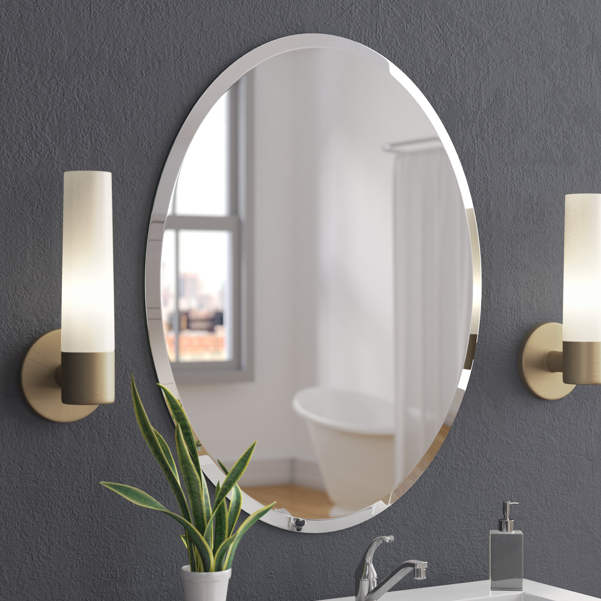 Callison Oval Bevel Frameless Wall Mirror Regarding Sajish Oval Crystal Wall Mirrors (View 9 of 30)