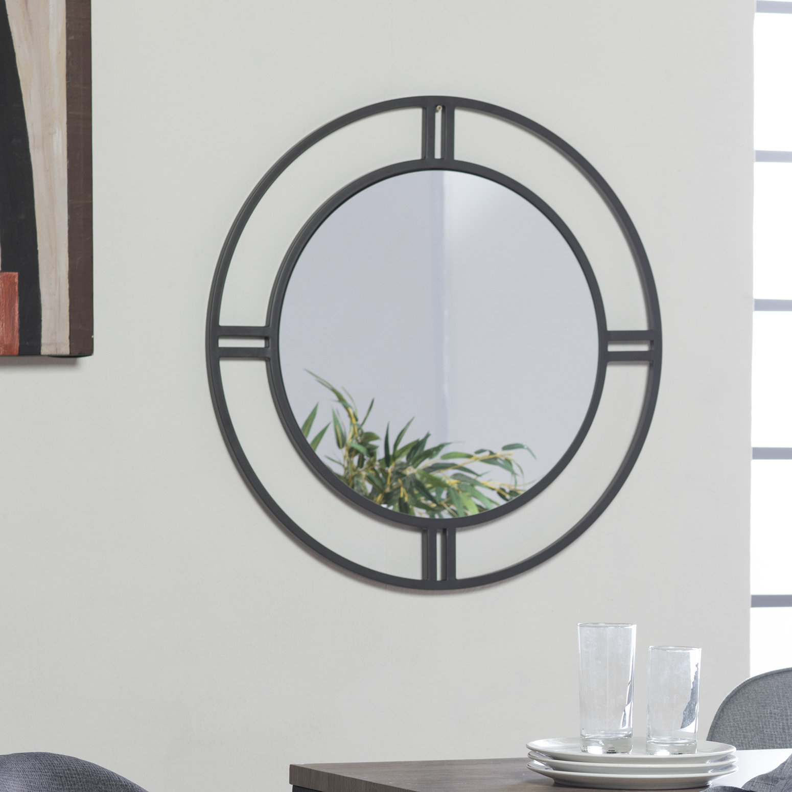 Camber Round Accent Mirror | Joss & Main in Rhein Accent Mirrors (Image 10 of 30)