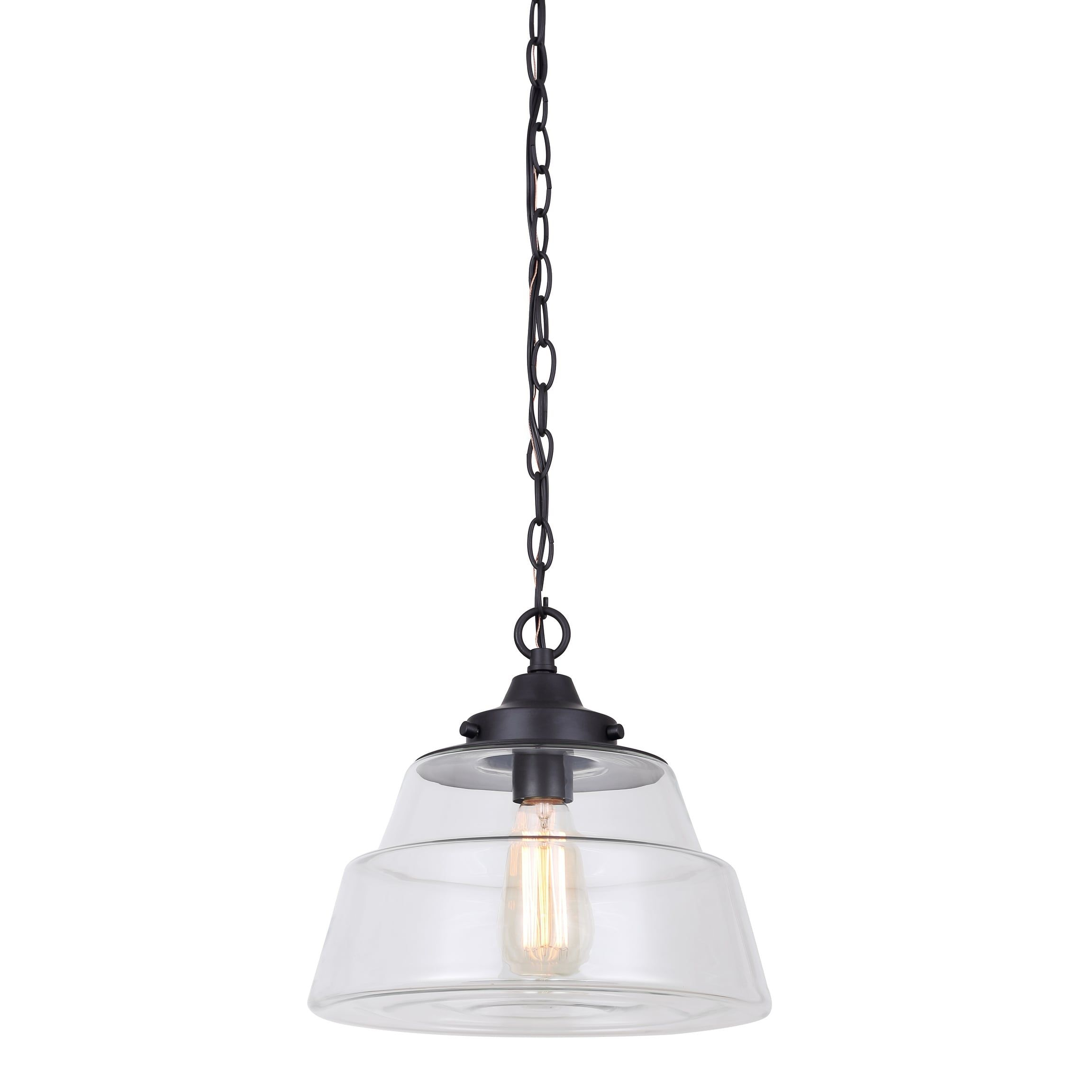 Canarm Calan 1 Light Chain, Dual Mount Pendant With Clear Inside Carey 1 Light Single Bell Pendants (View 7 of 30)