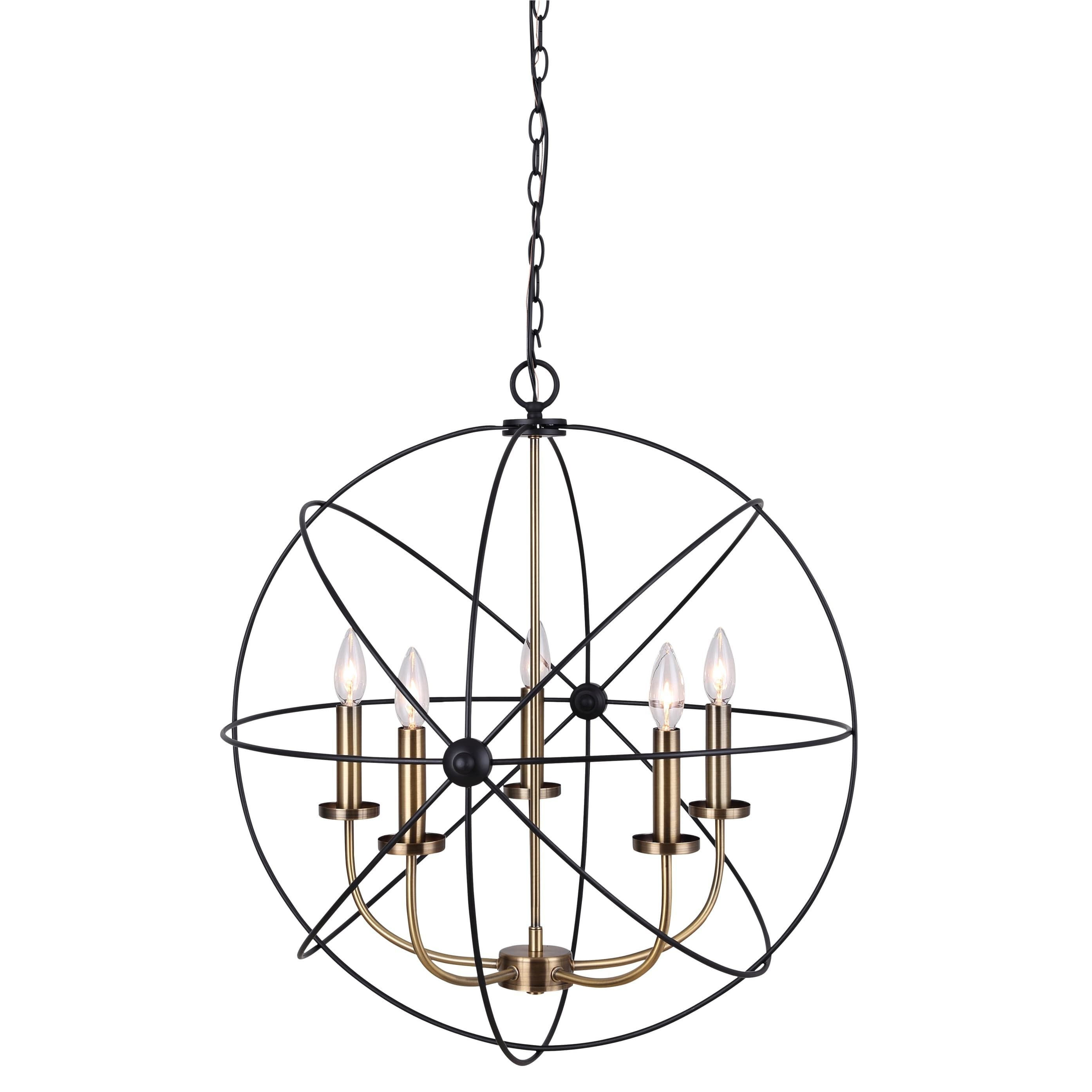 Canarm Summerside 5 Light Chain Chandelier - Black With Gold with Waldron 5-Light Globe Chandeliers (Image 4 of 30)