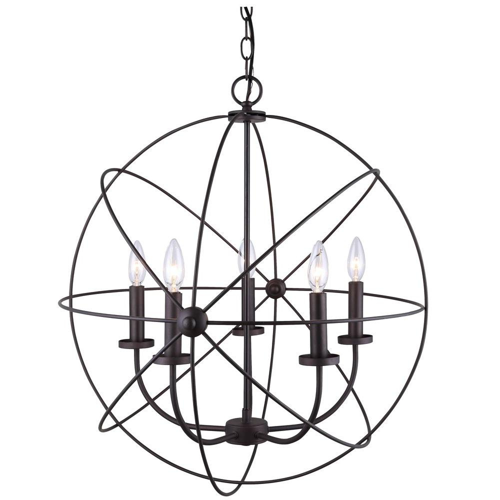 Canarm Summerside 5-Light Oil Rubbed Bronze Chandelier In with Waldron 5-Light Globe Chandeliers (Image 5 of 30)