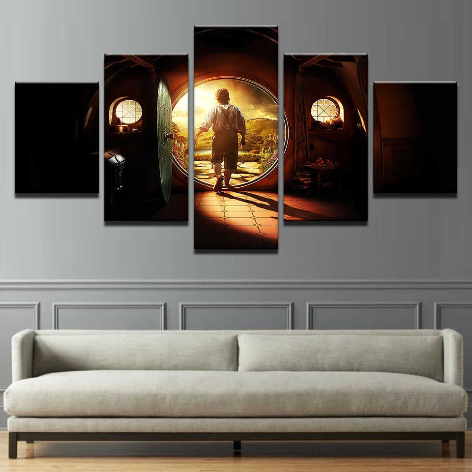 Canvas Pictures Home Decor Wall Art 5 Pieces Lord Of The With Regard To Rings Wall Decor (View 19 of 30)