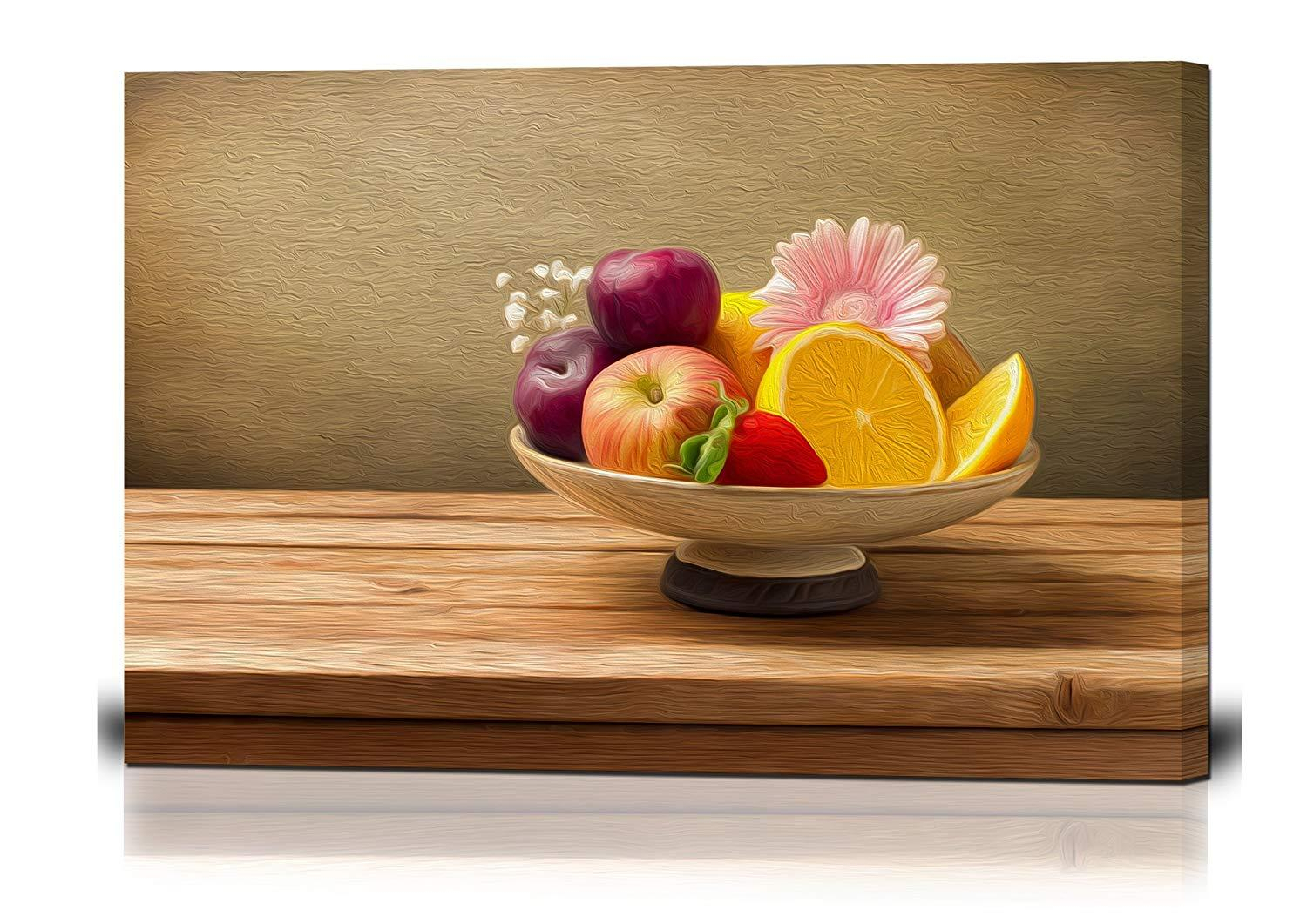 Canvas Wall Art - Vase With Fresh Fruits And Flowers On Wooden Table - Oil  Painting Style Giclee Print Gallery Wrap Modern Home Decor Ready To Hang with regard to Vase and Bowl Wall Decor (Image 9 of 30)
