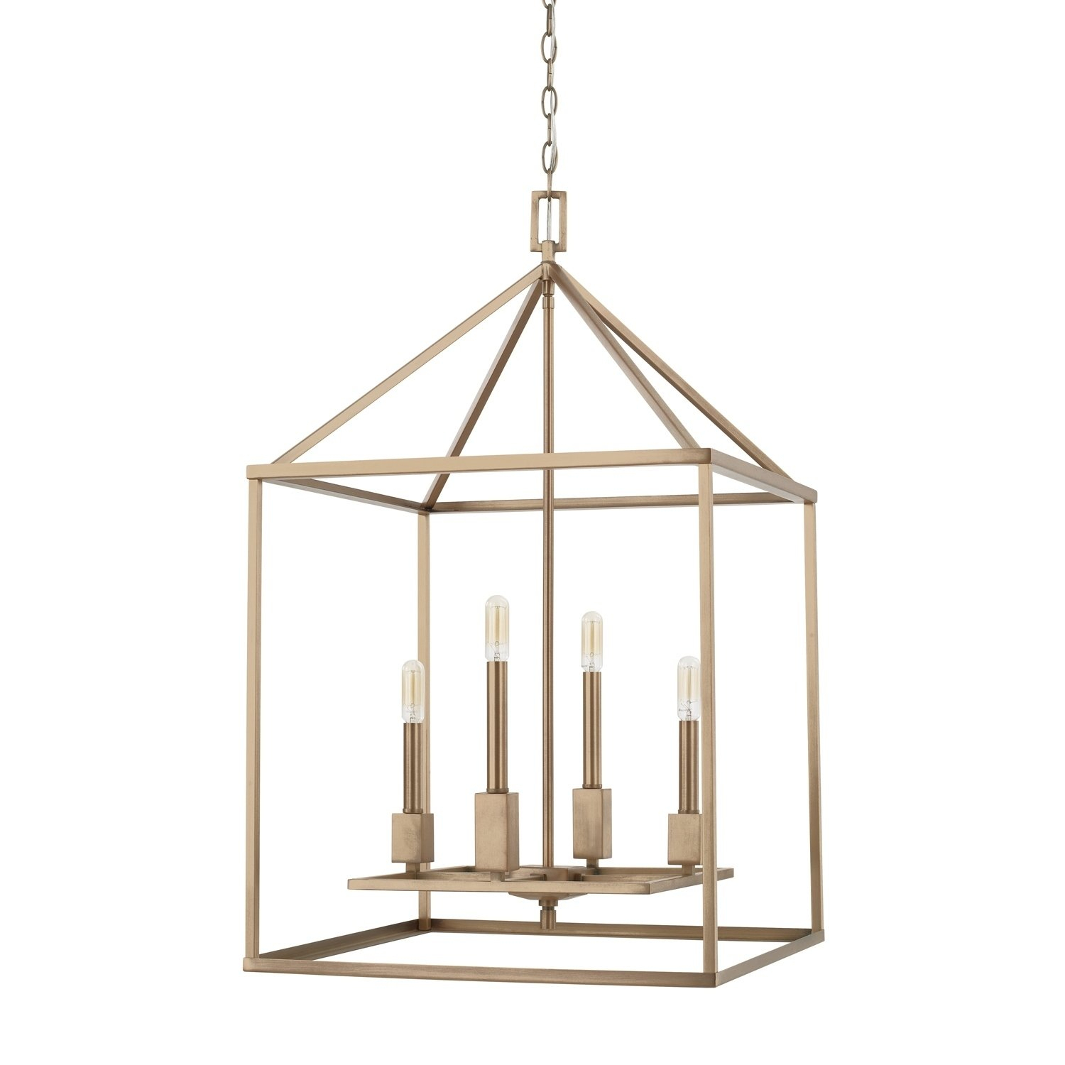 Capital Lyra Collection 4 Light Aged Brass Foyer Fixture With Freeburg 4 Light Lantern Square / Rectangle Pendants (View 18 of 30)